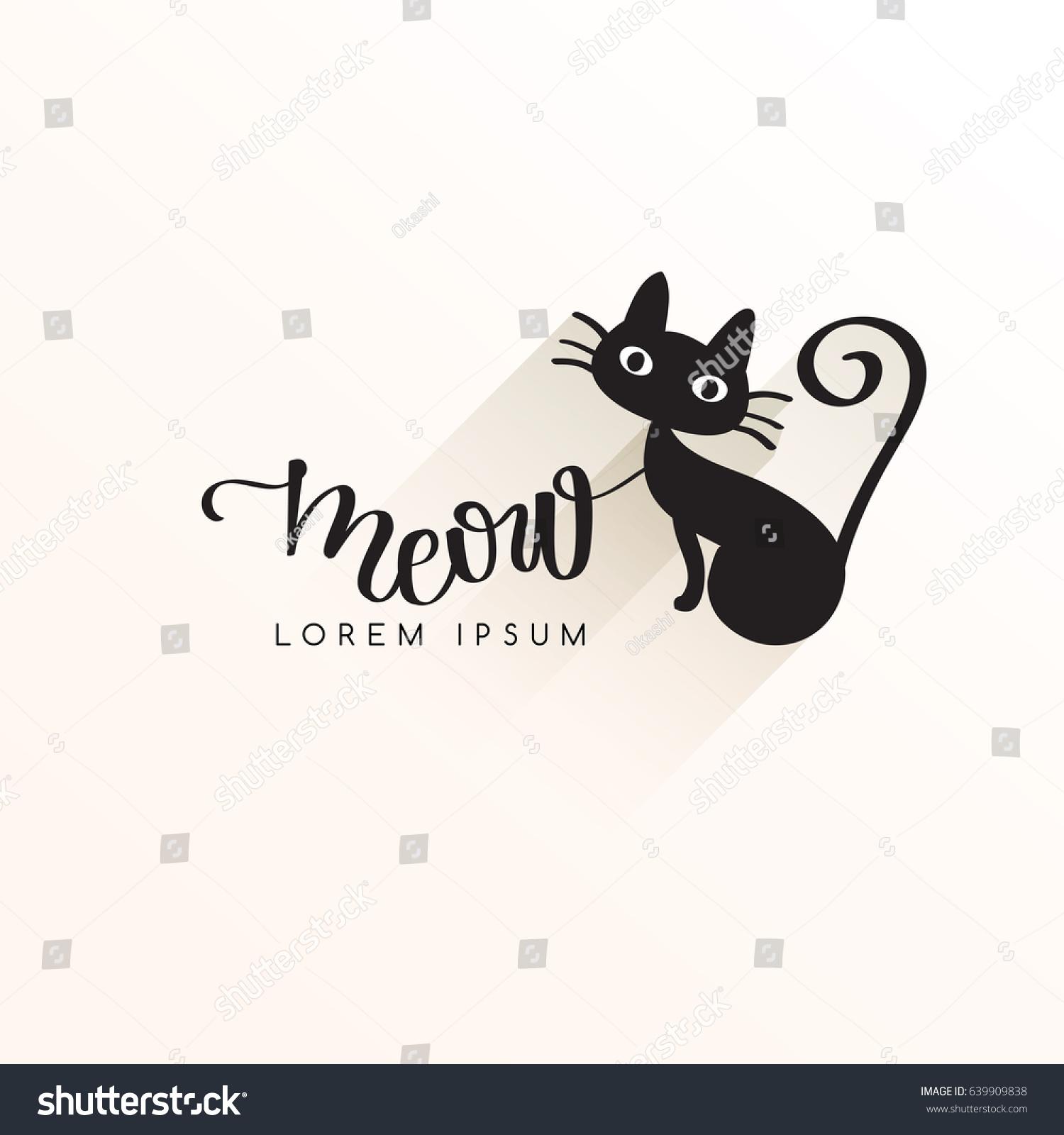 Black Cat Logo Template Vector Illustration Stock Vector Royalty