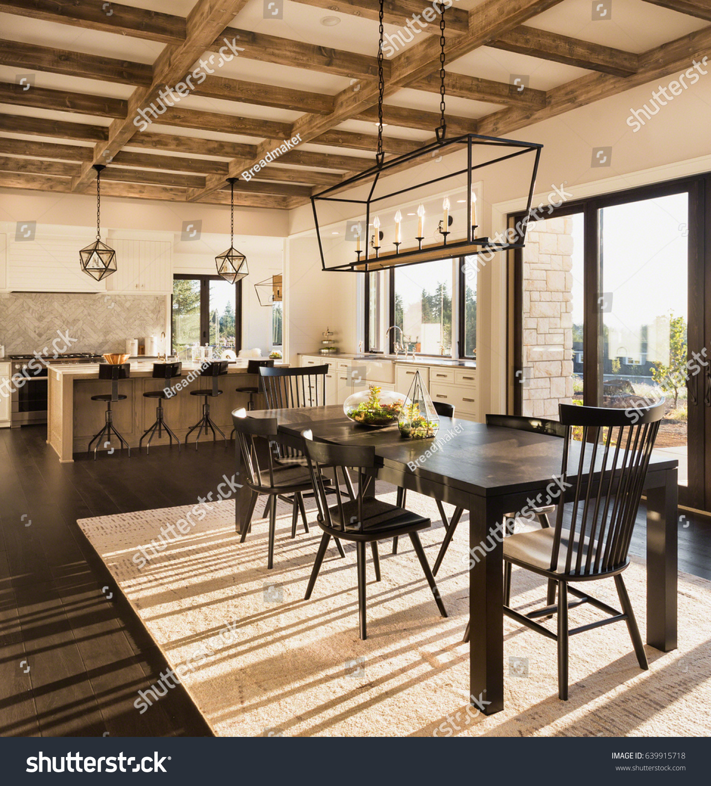 Luxury Home Features beautiful dining room kitchen new luxury stock photo 639915718