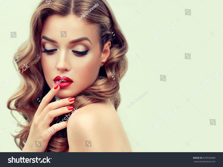Beautiful Blonde Model Girl Long Curly Stock Photo (Royalty Free ...