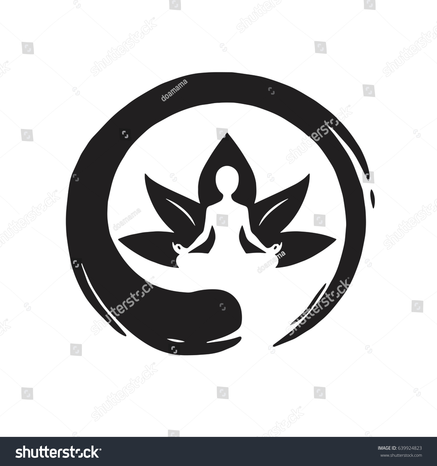 Yoga Lotus Zen Circle Logo Template Stock-Vektorgrafik 639924823 ...