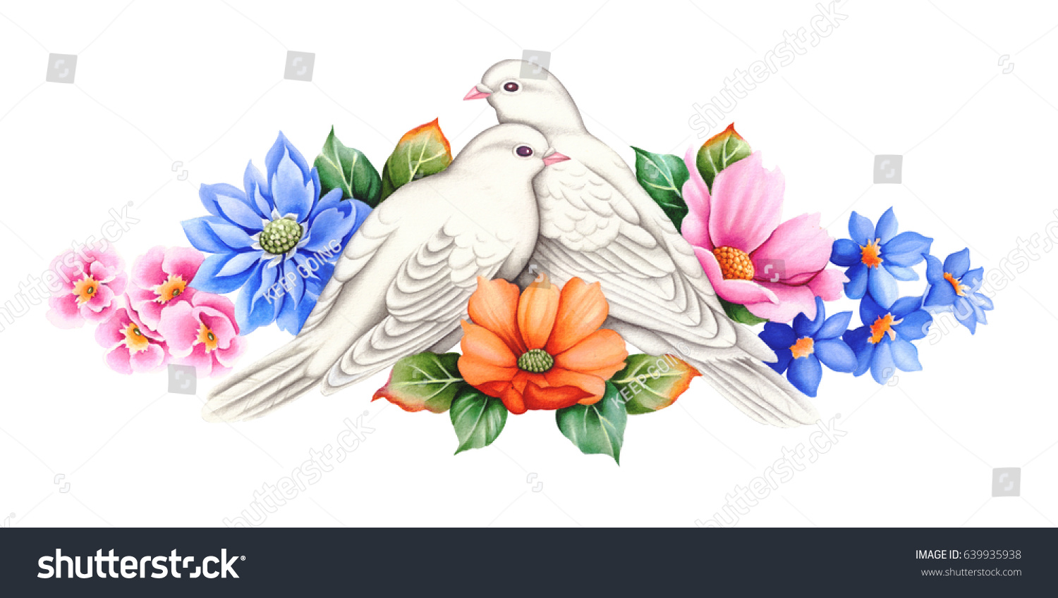 White dove couplehand drawn watercolor painting stock illustration white dove couplehand drawn watercolor painting on white background a symbol of peace biocorpaavc Image collections