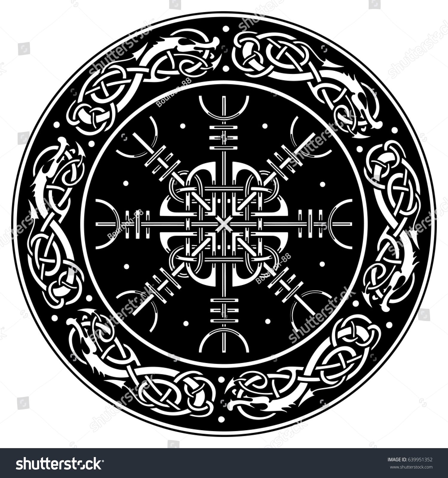 Viking shield decorated scandinavian pattern dragons stock for Helm design