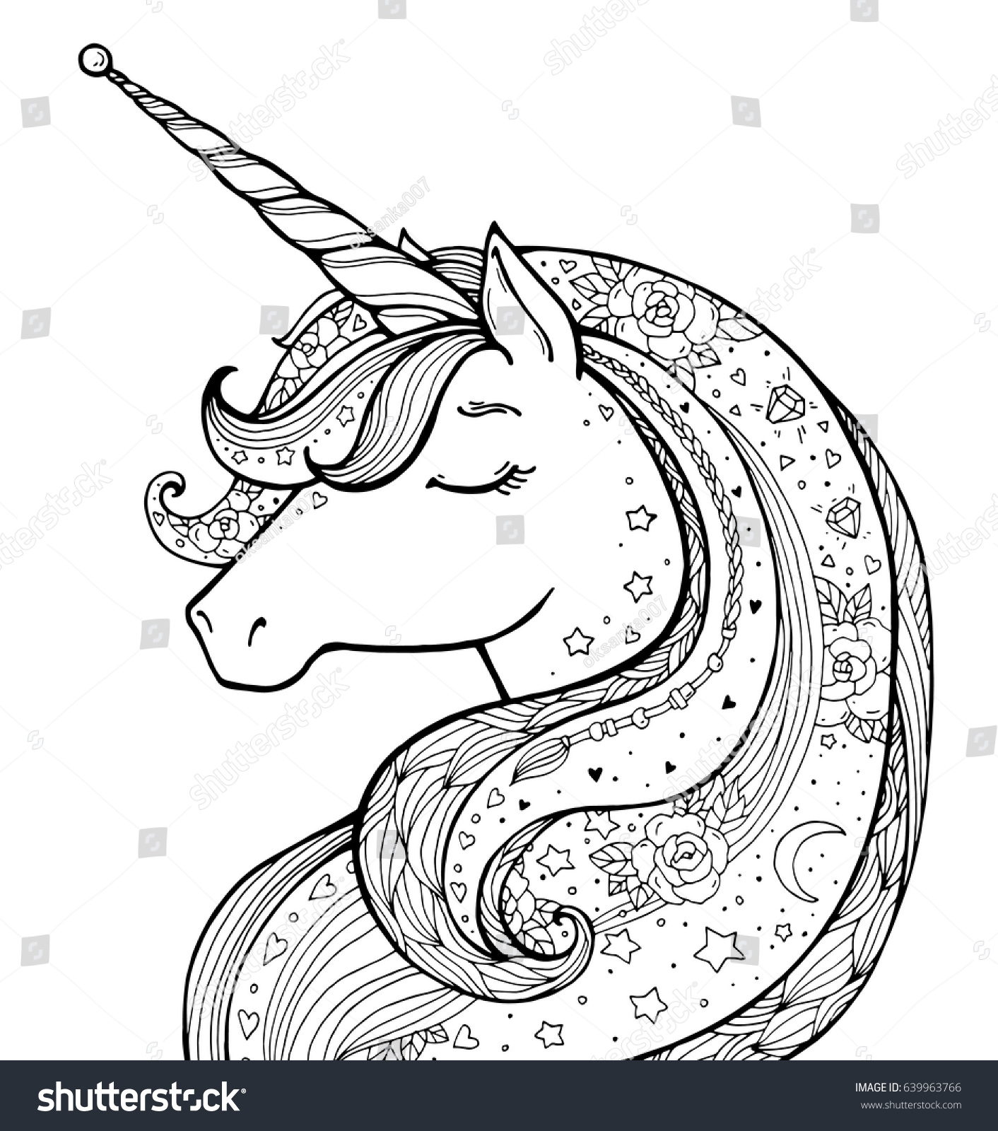 Unicorn Magical Animal Vector Artwork Black Stock Vector ...