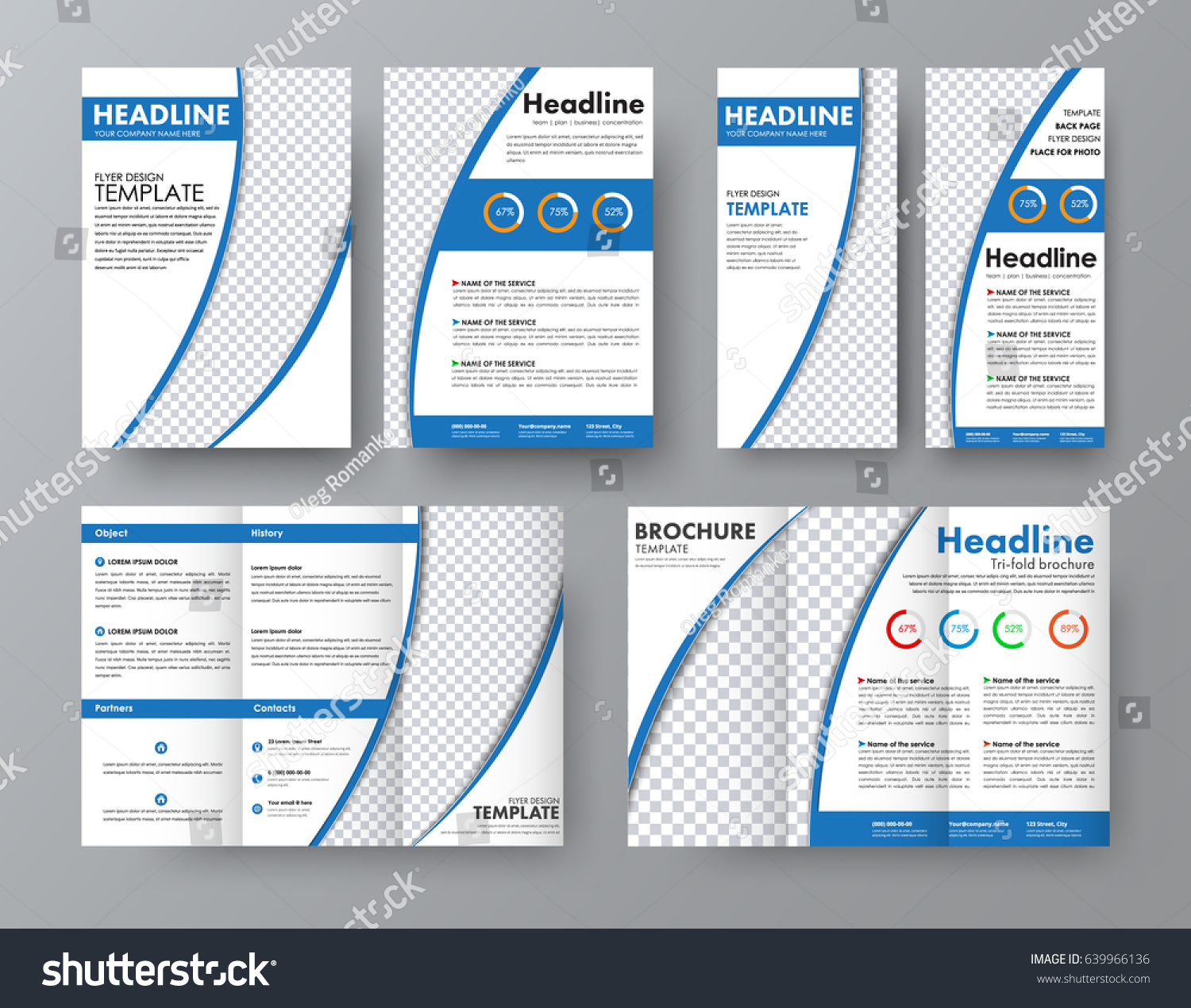 template front back folding brochure a 4 stock vector royalty free
