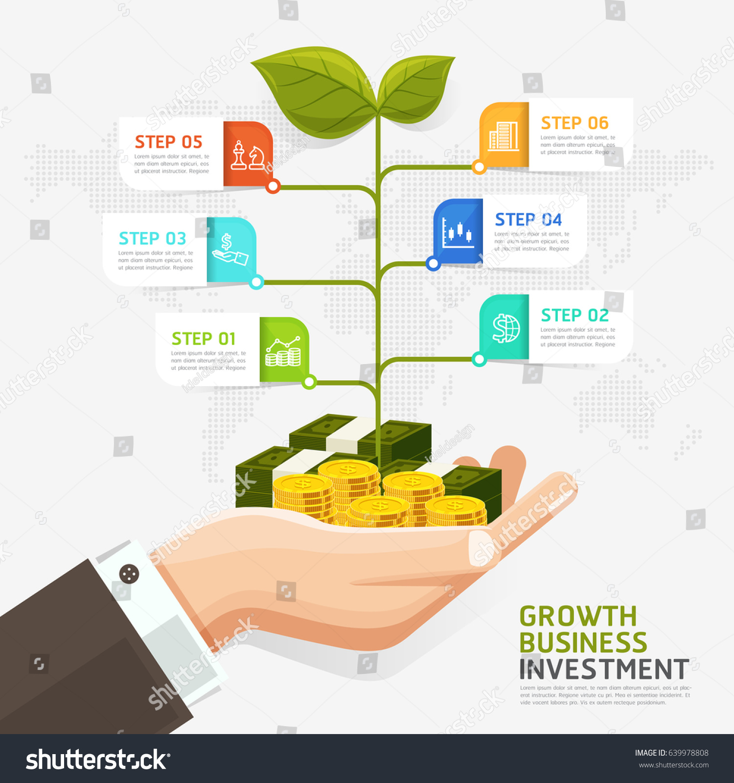 Investment strategy, business plan, timeline template, infographic.