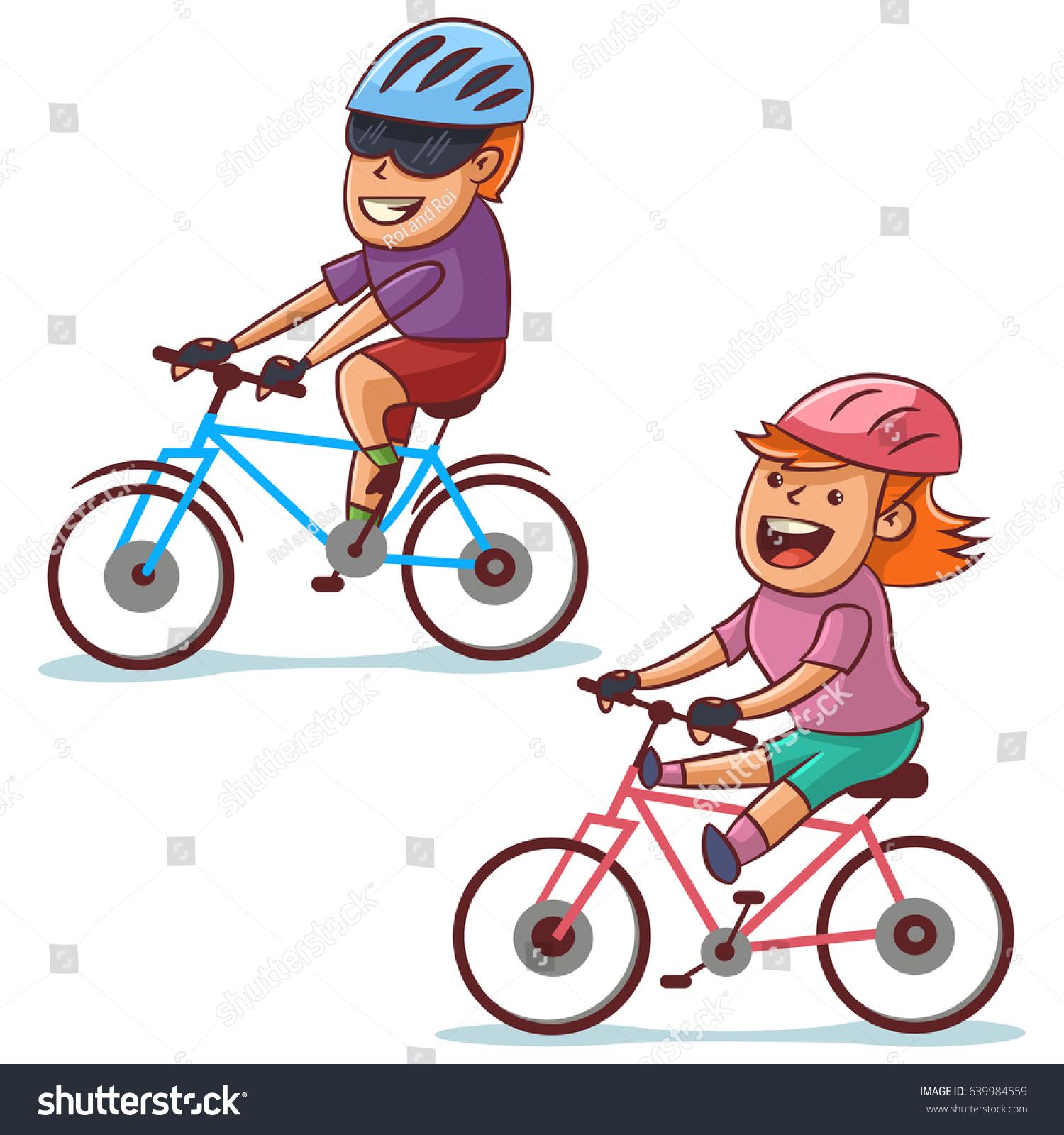 Couple Bike Riding Happy Boy Girl Stock Vector 639984559 -2926
