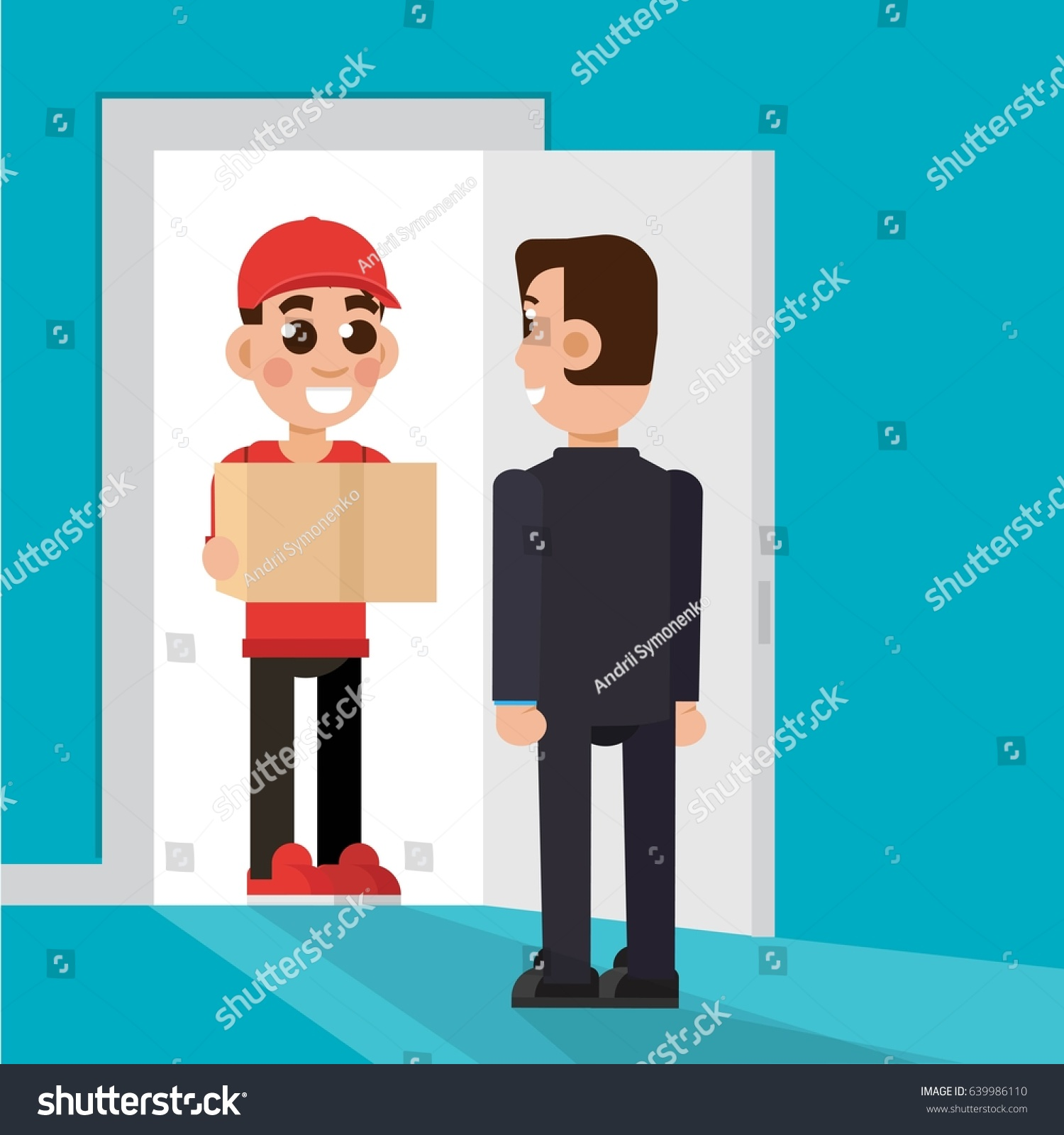Delivery to the door. Delivery man character. Vectror illustration.  sc 1 st  Shutterstock & Delivery Door Delivery Man Character Vectror Stock Vector ... pezcame.com