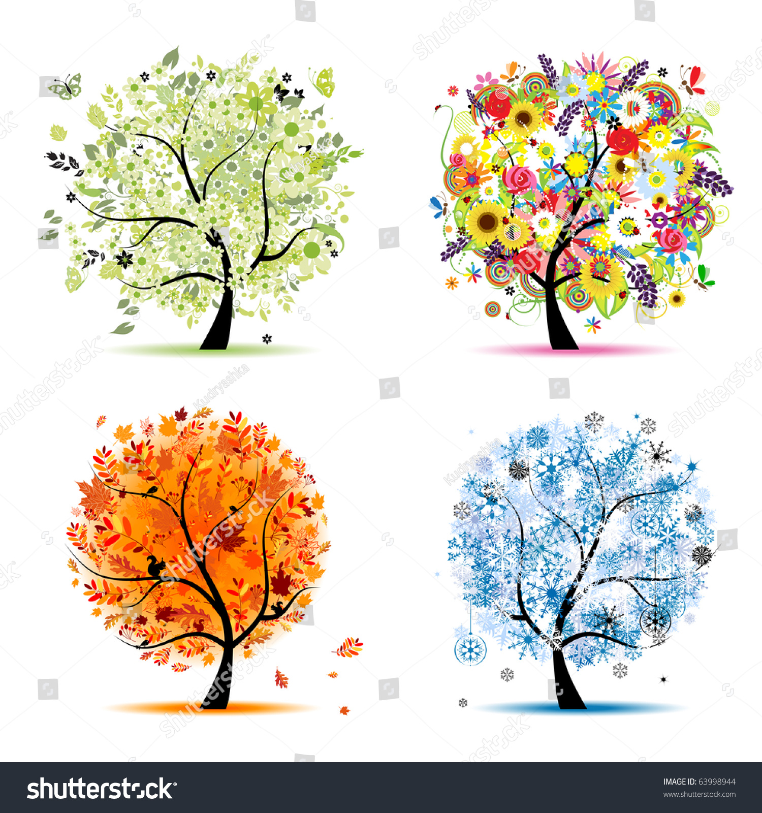 Four Seasons Spring Summer Autumn Winter Stock Vector ...