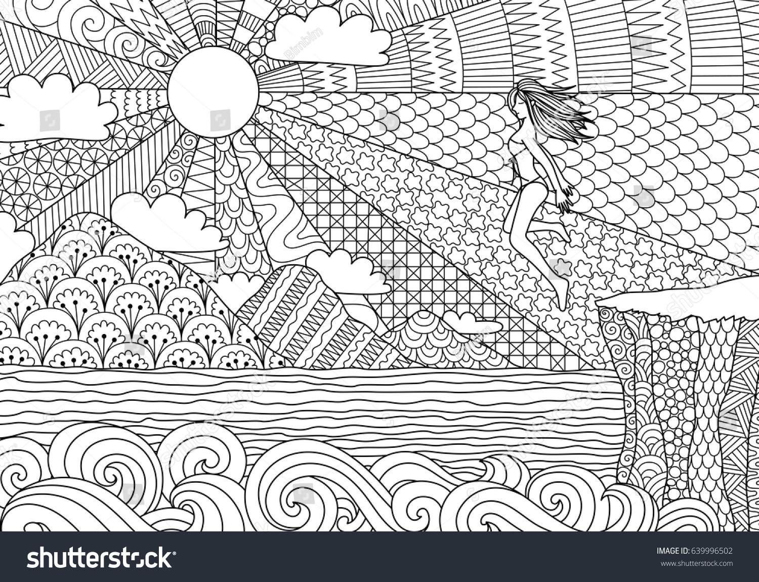 Sexy Bikini Girl Jump Over The Cliff To Beautiful Ocean For Illustration Adult Coloring