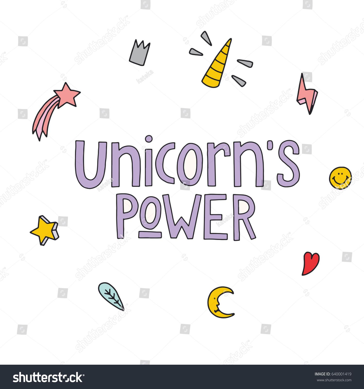 Unicorns power hand drawn quote vector stock vector 640001419 unicorns power the hand drawn quote vector illustration of magic and unicorns symbols biocorpaavc