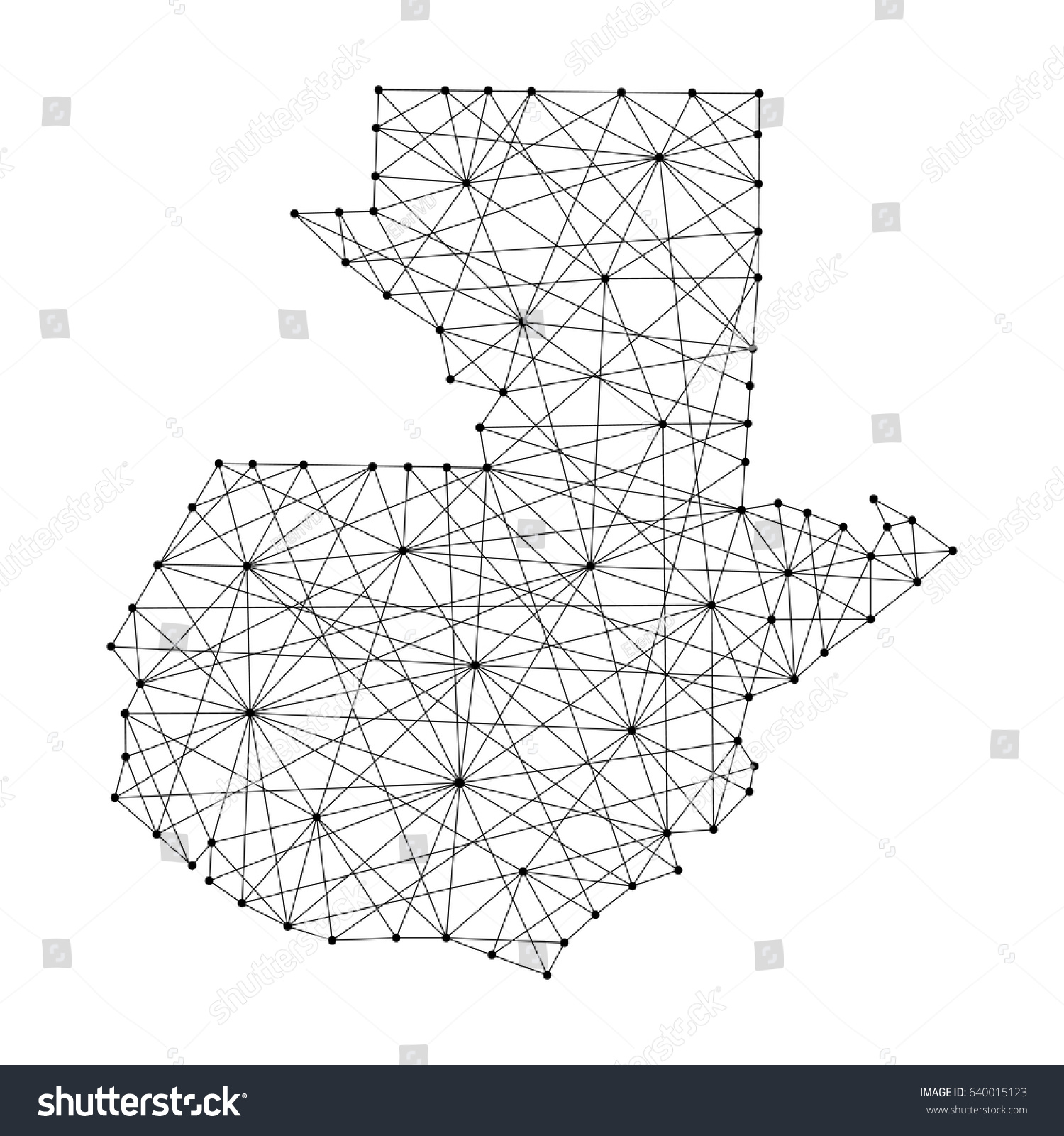 map guatemala polygonal black lines dots stock vector