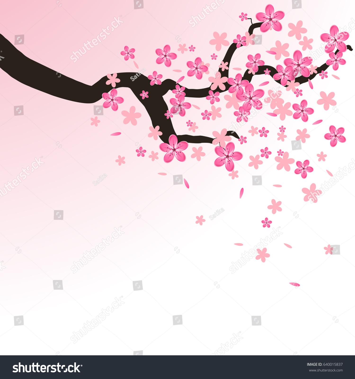 Isolated Branch Flowers Sakura Cartoon Pink Stock Illustration