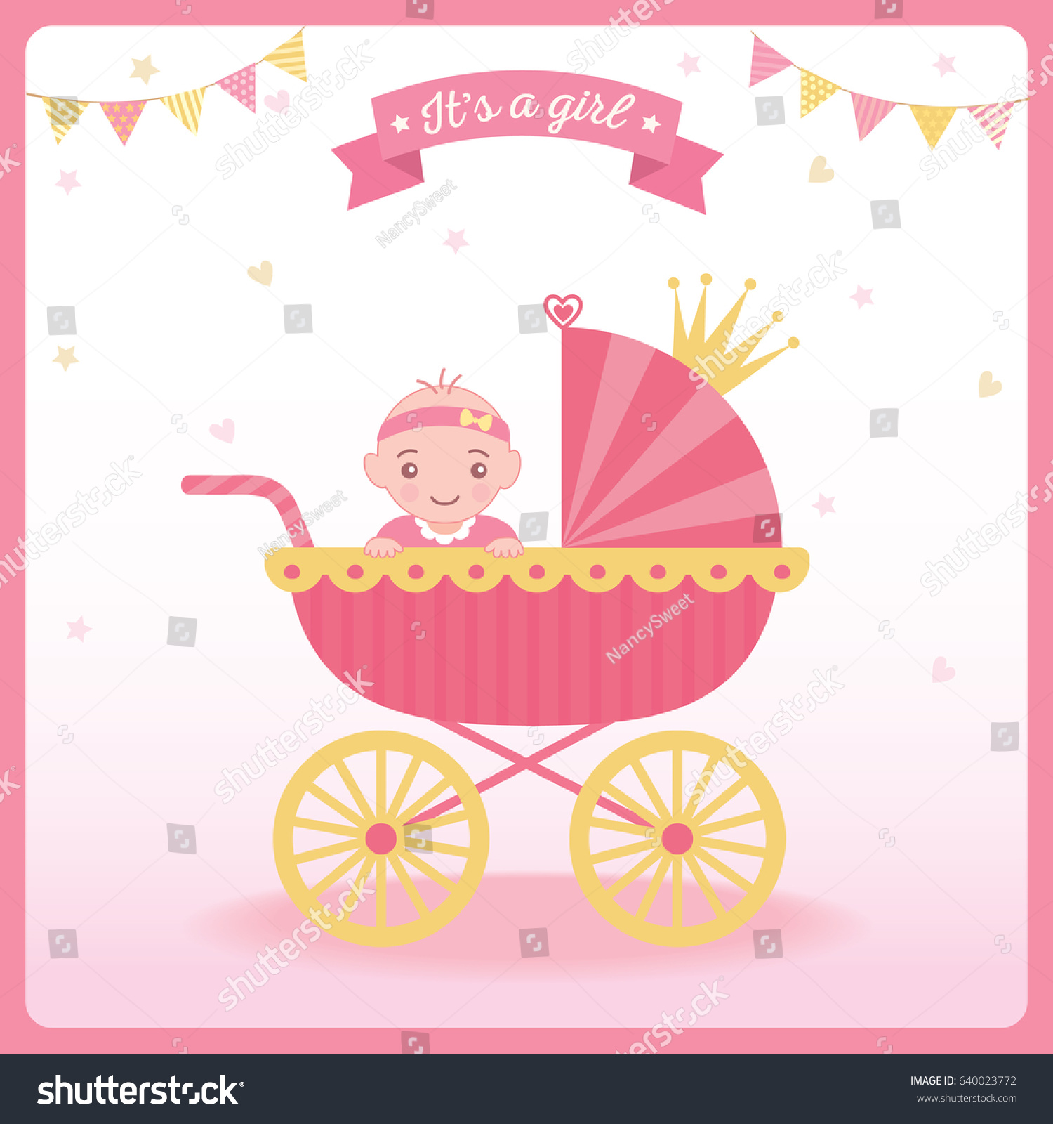 Baby Girl Shower Greeting Card New Stock Vector Royalty Free