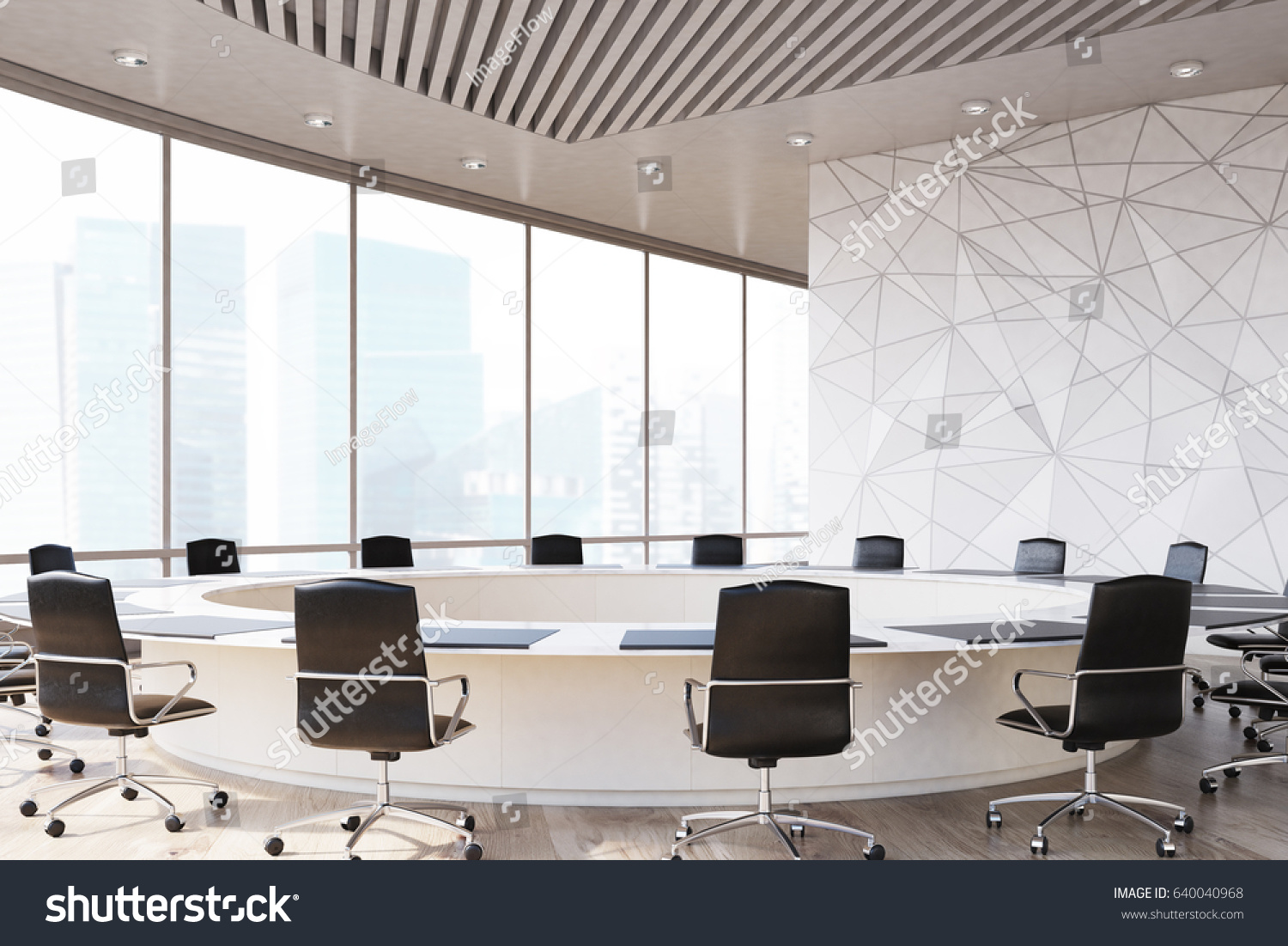 Conference Room Interior Round Table Black Stock Illustration - Black conference room table