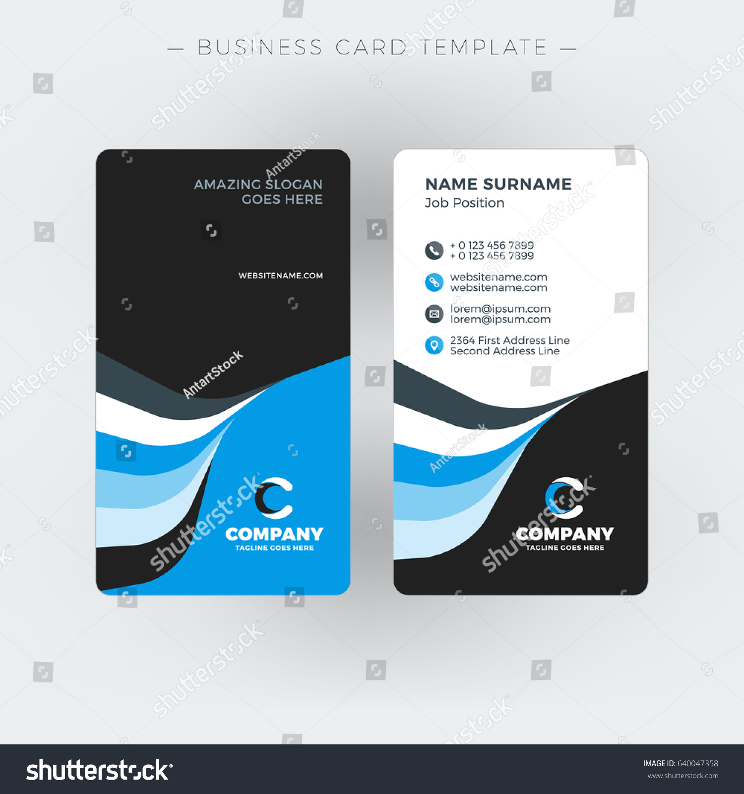 Vertical Doublesided Business Card Template Vector Stock Vector ...