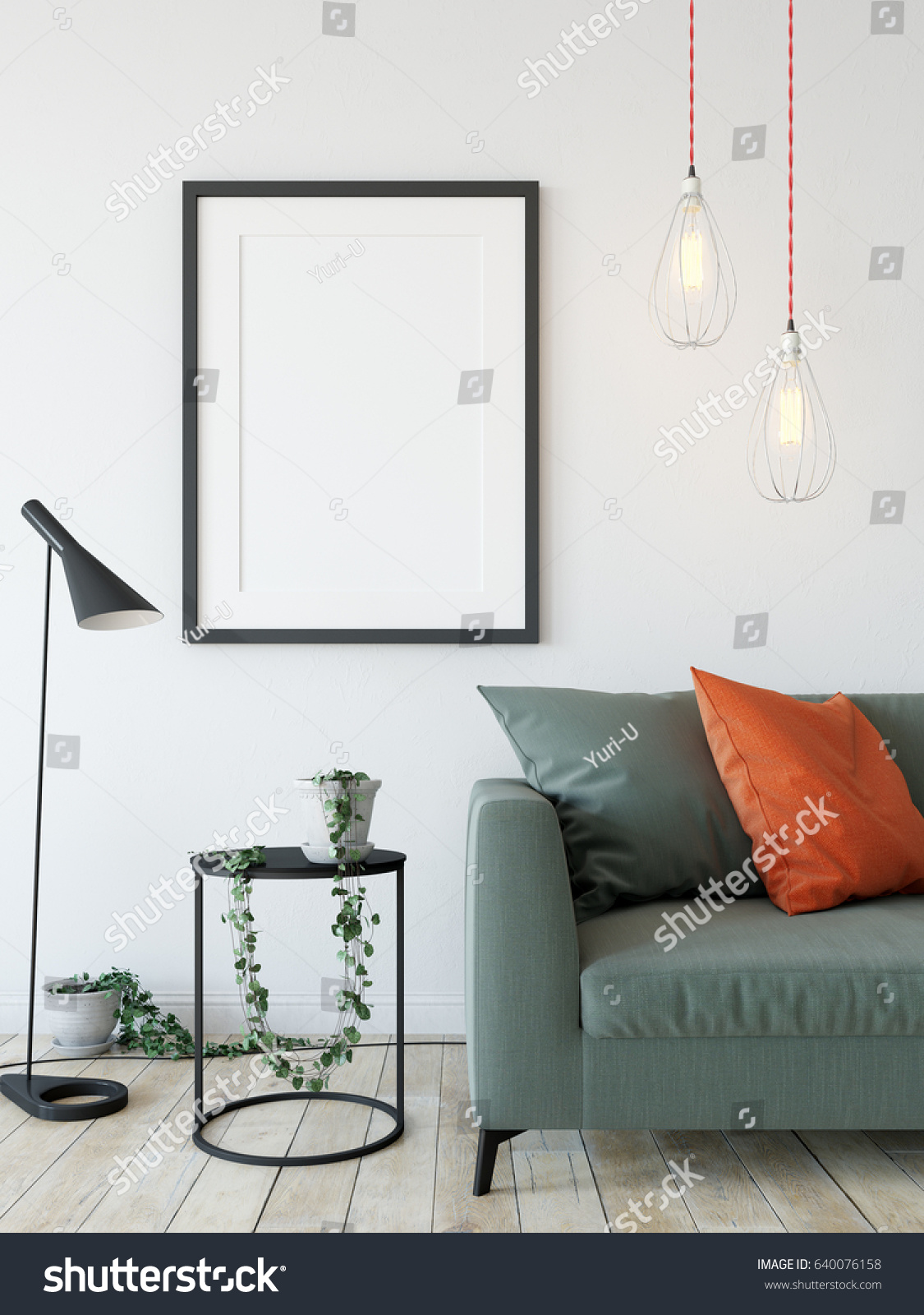 living room posters. mock up posters in living room interior  Interior scandinavian style 3d rendering Mock Posters Living Room Stock Illustration