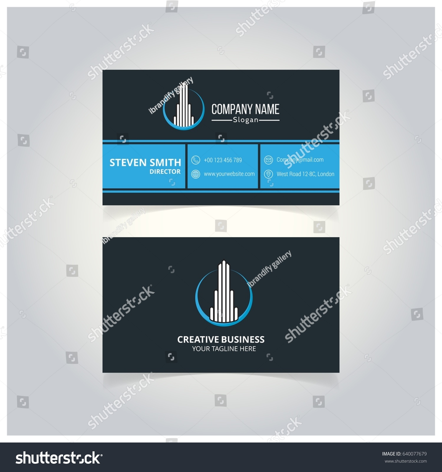 Building Logo Minimal Corporate Business Card Stock Vector ...