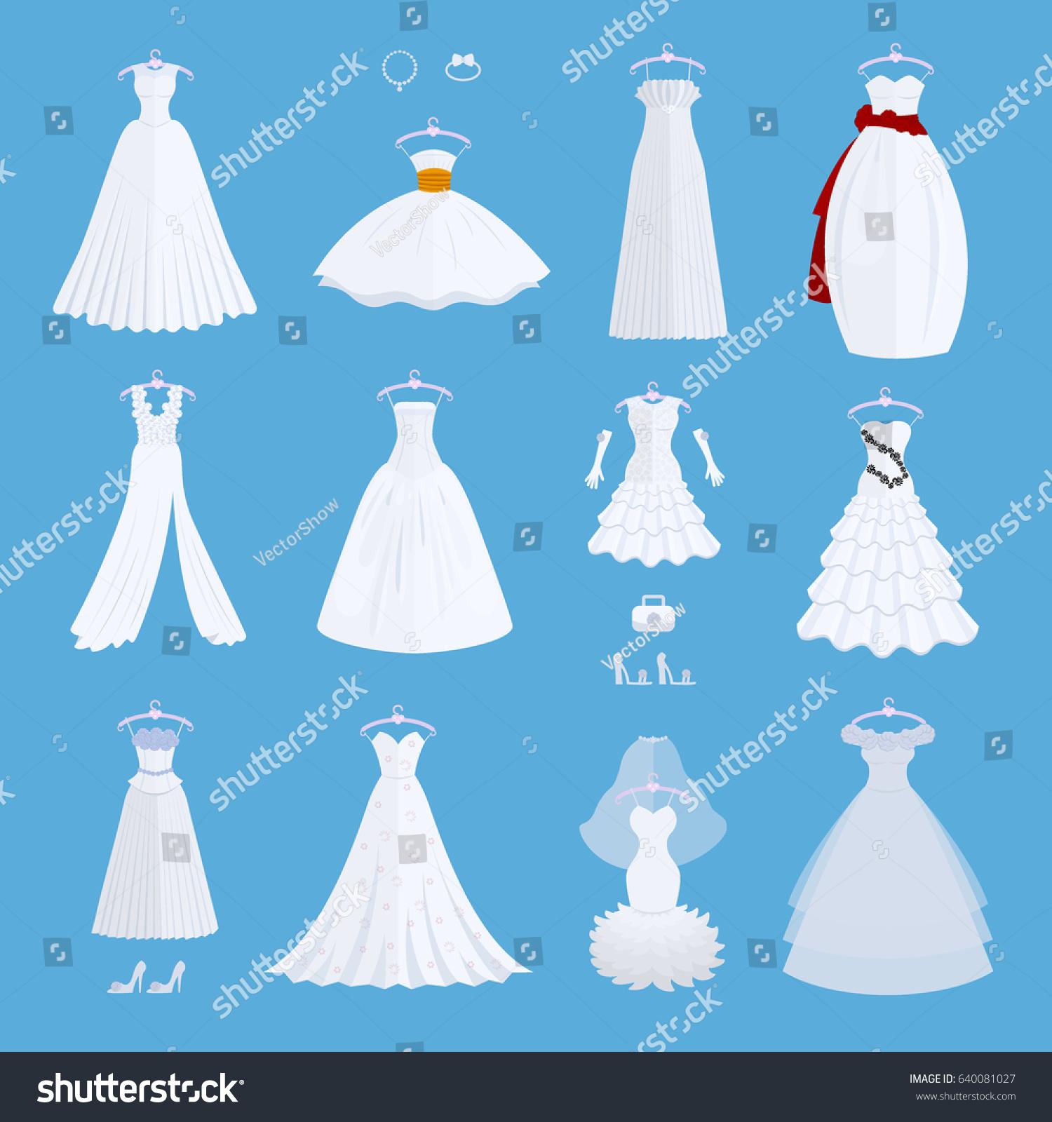Wedding Bride Dress Elegance Style Celebration Stock Vector ...