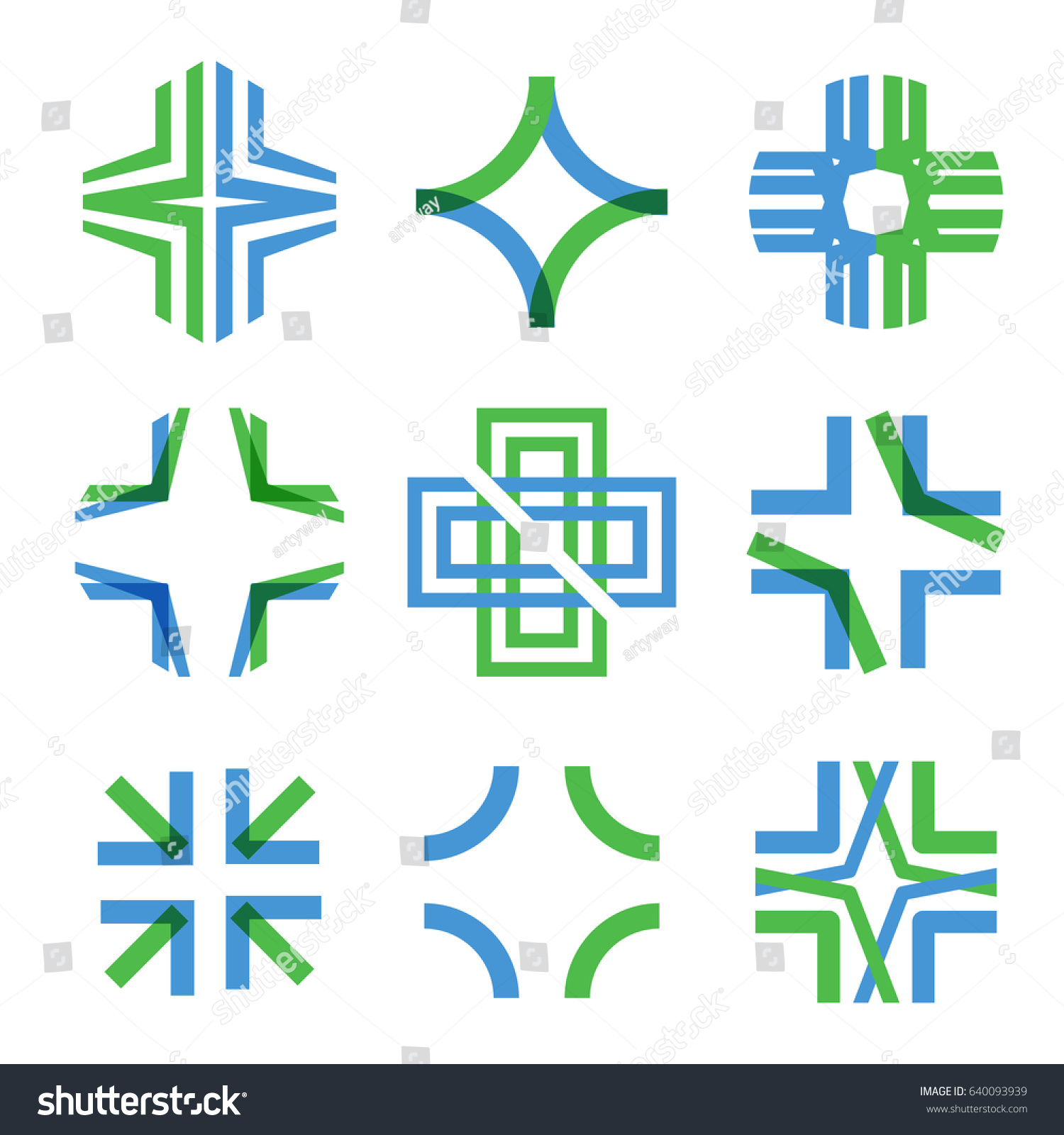 Medical Abstract Symbol Transparent Intersecting Lines Stock Vector