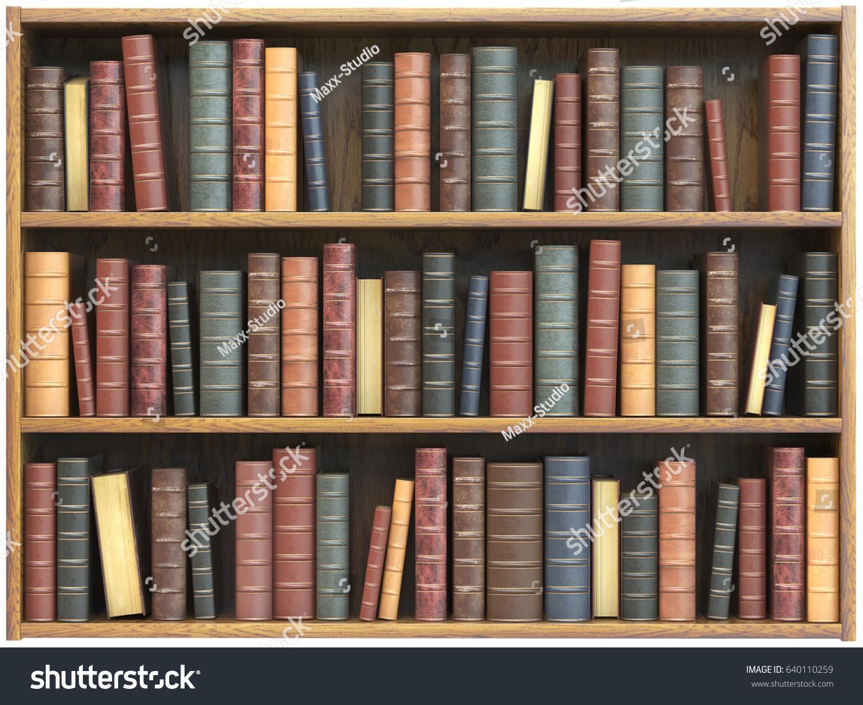 Vintage Books On Bookshelf Isolated On Stock Illustration