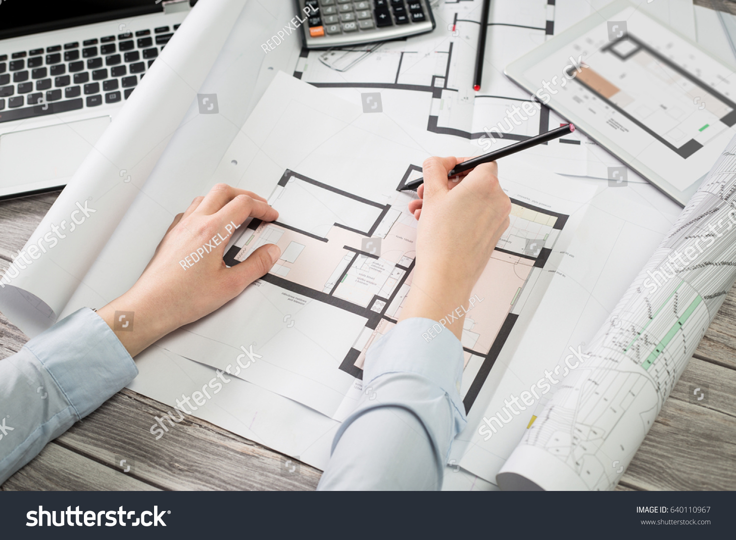Architect drawing project blueprint business working stock photo architect drawing project blueprint business working design ruler table workplace malvernweather Gallery