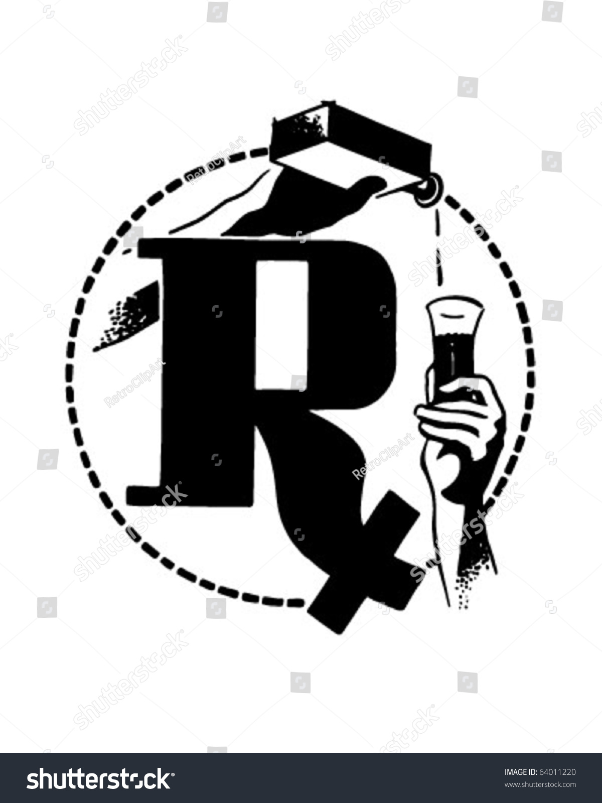 Rx With Medicine Poured - Retro Clipart Stock Vector Illustration ...