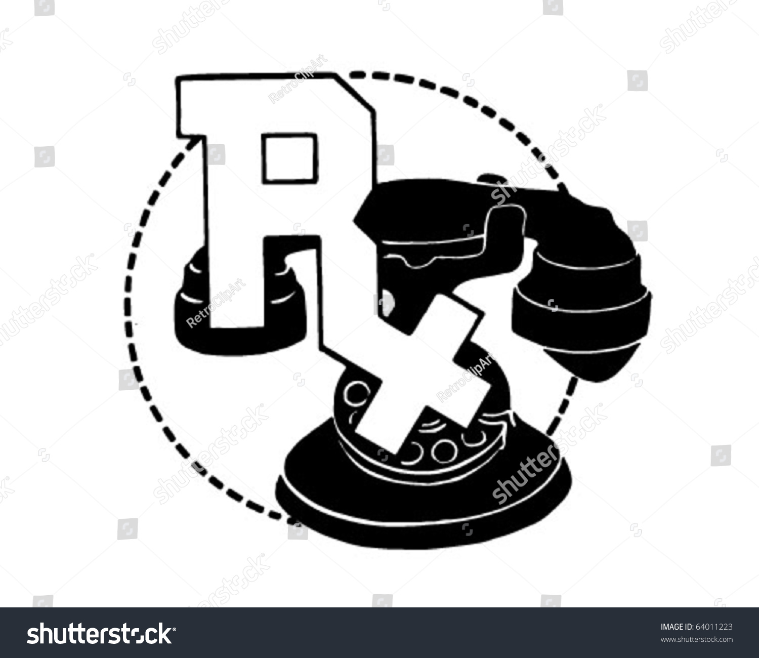 Rx Symbol On Telephone - Retro Clipart Stock Vector Illustration ...