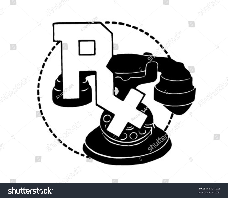 Rx Symbol On Telephone - Retro Clipart Stock Vector Illustration ...