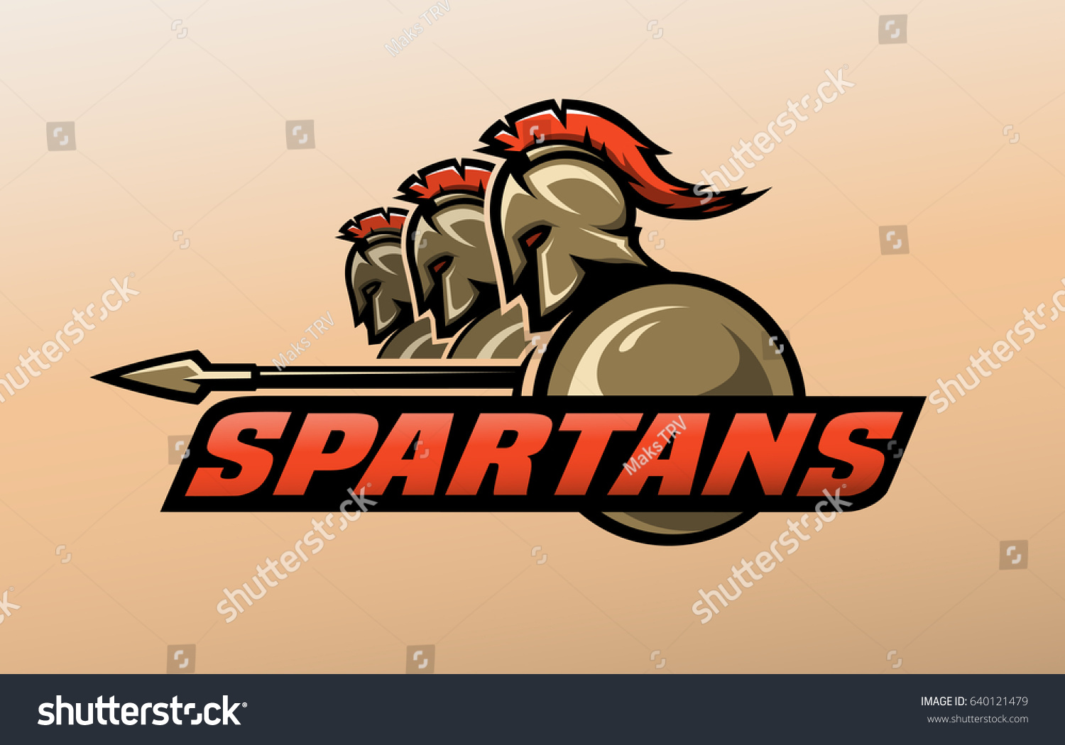 spartan warriors logo symbol stock vector 640121479