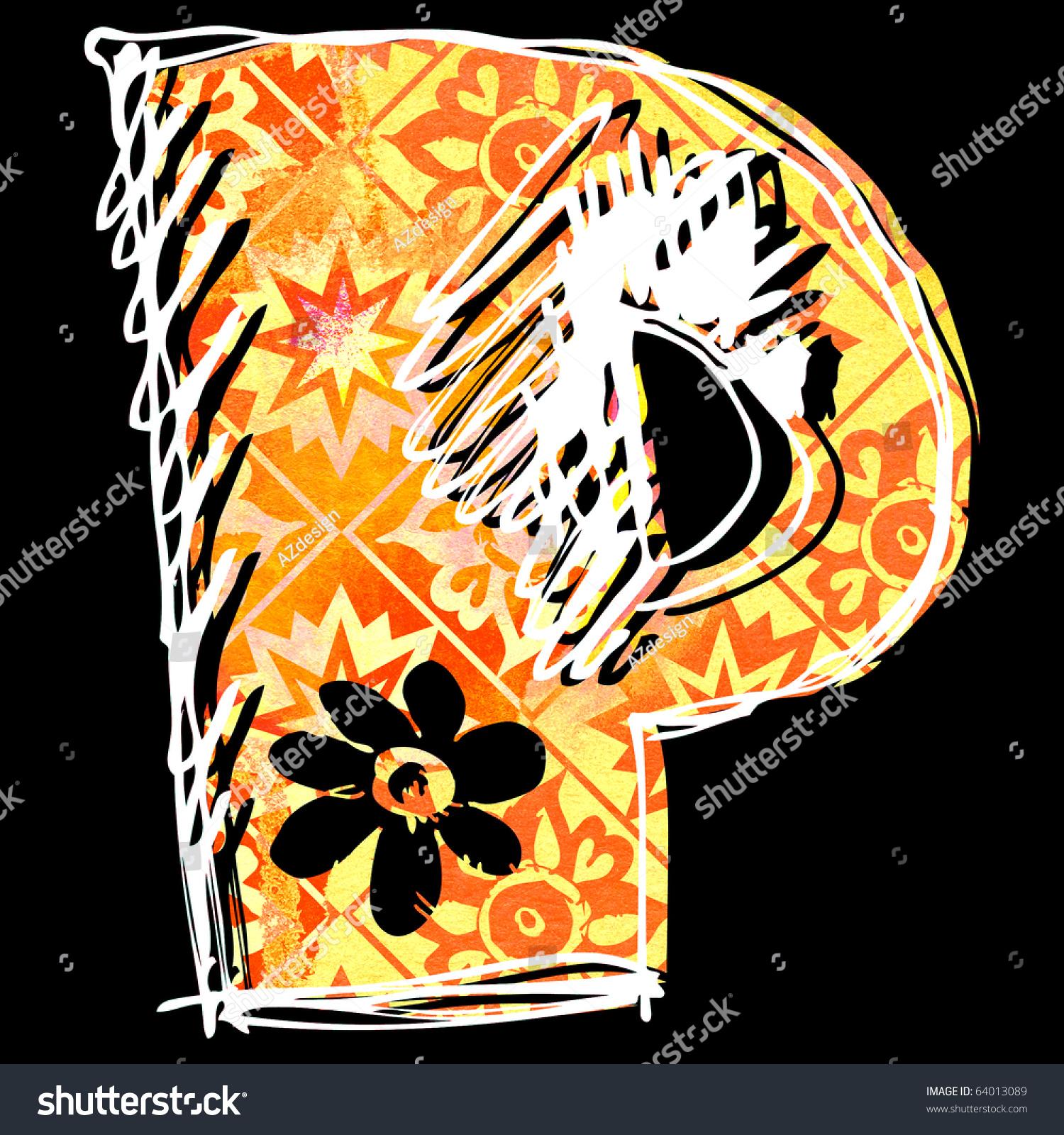 Graffiti alphabet hand drawn letter p isolated on black background