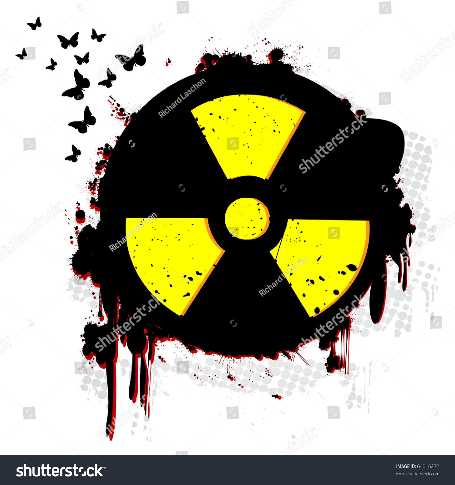 Nuclear Hazard Grunge Symbol Over White Stock Illustration 64016272