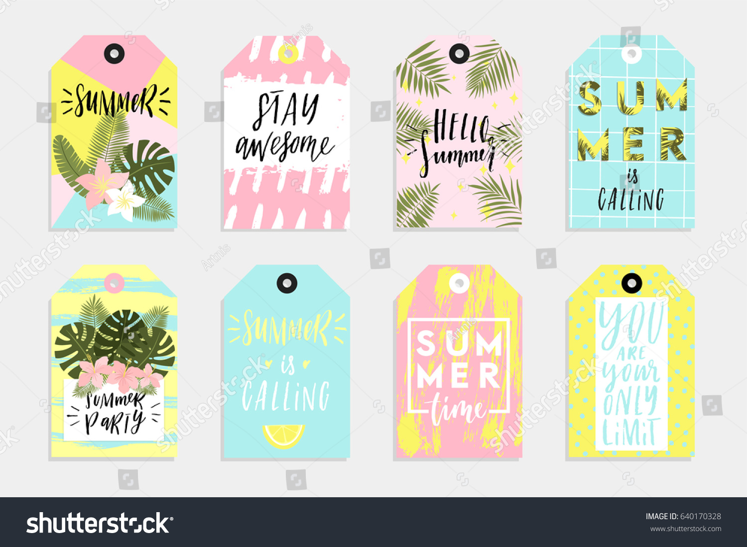 summer set sale gift tags labels stock vector royalty free