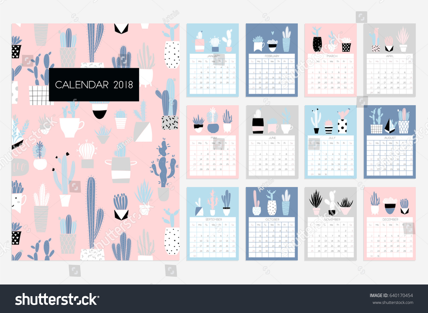 calendar 2018 stock vector fun and cute calendar with hand drawn succulents and cactus