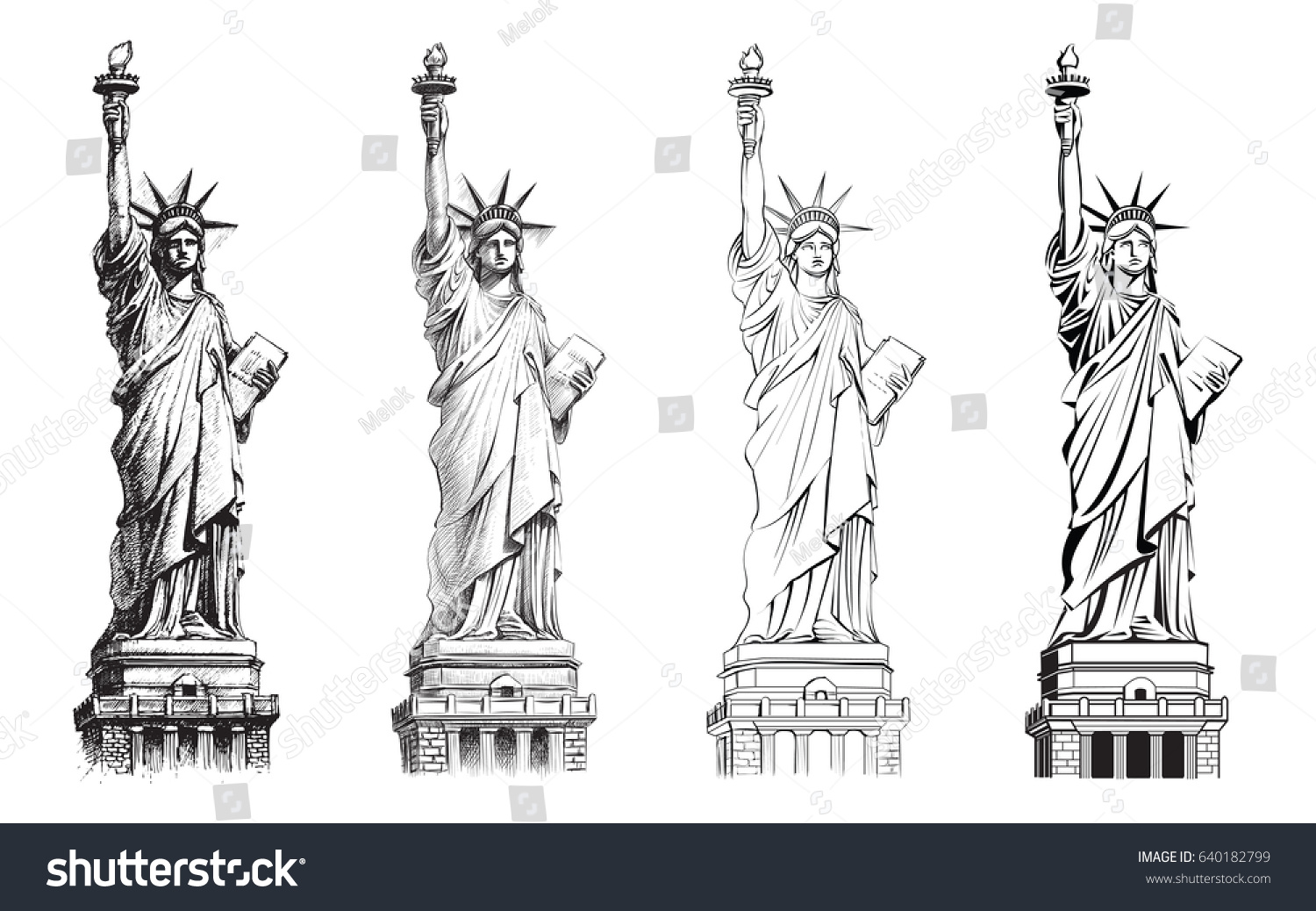 Statue of liberty, vector set. Illustration of various drawing styles. Hand drawn line, realistic ink sketch, outline and flat. New York and USA landmark. American national symbol.