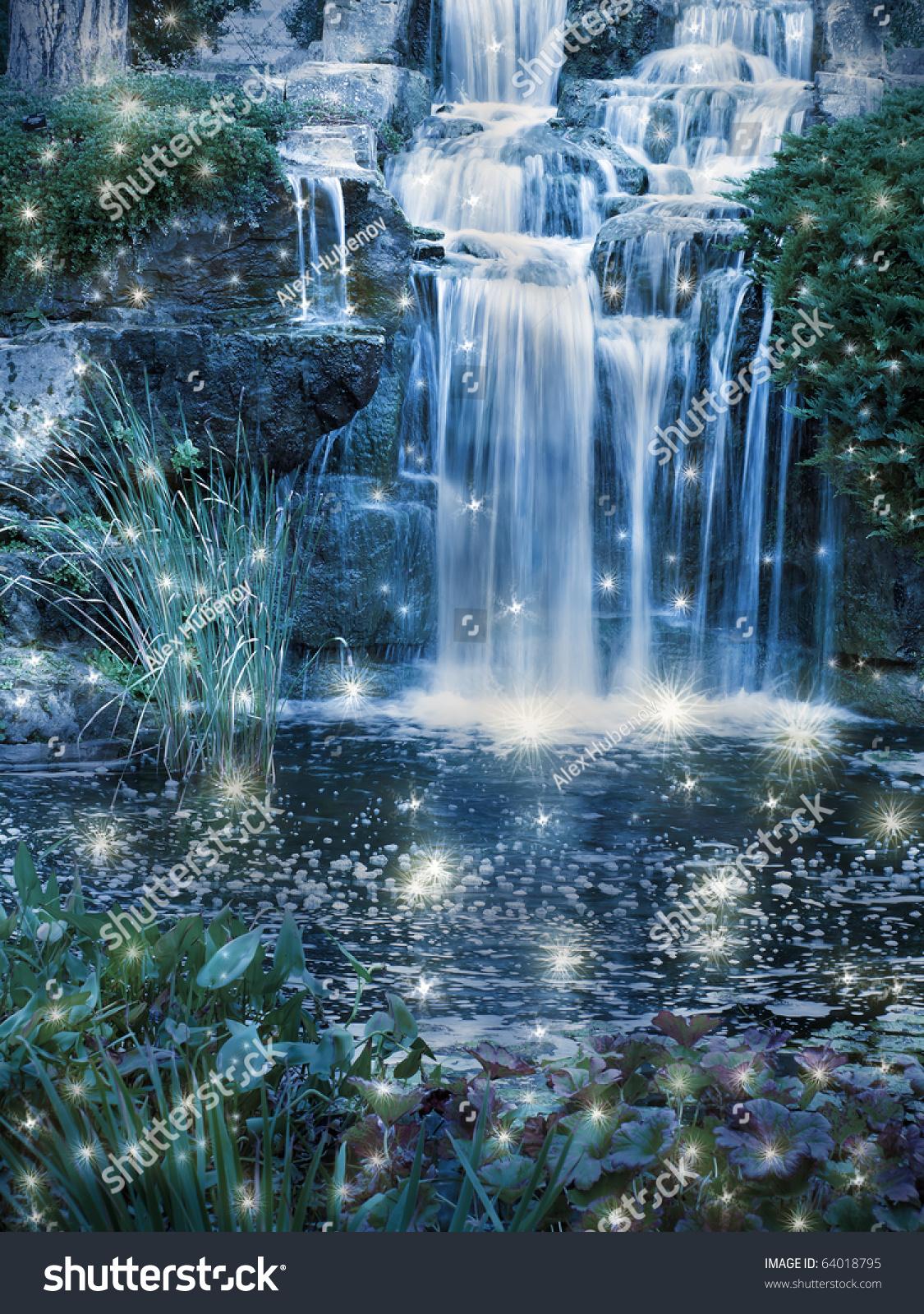 Magic Night Waterfall Scene Stock Photo 64018795