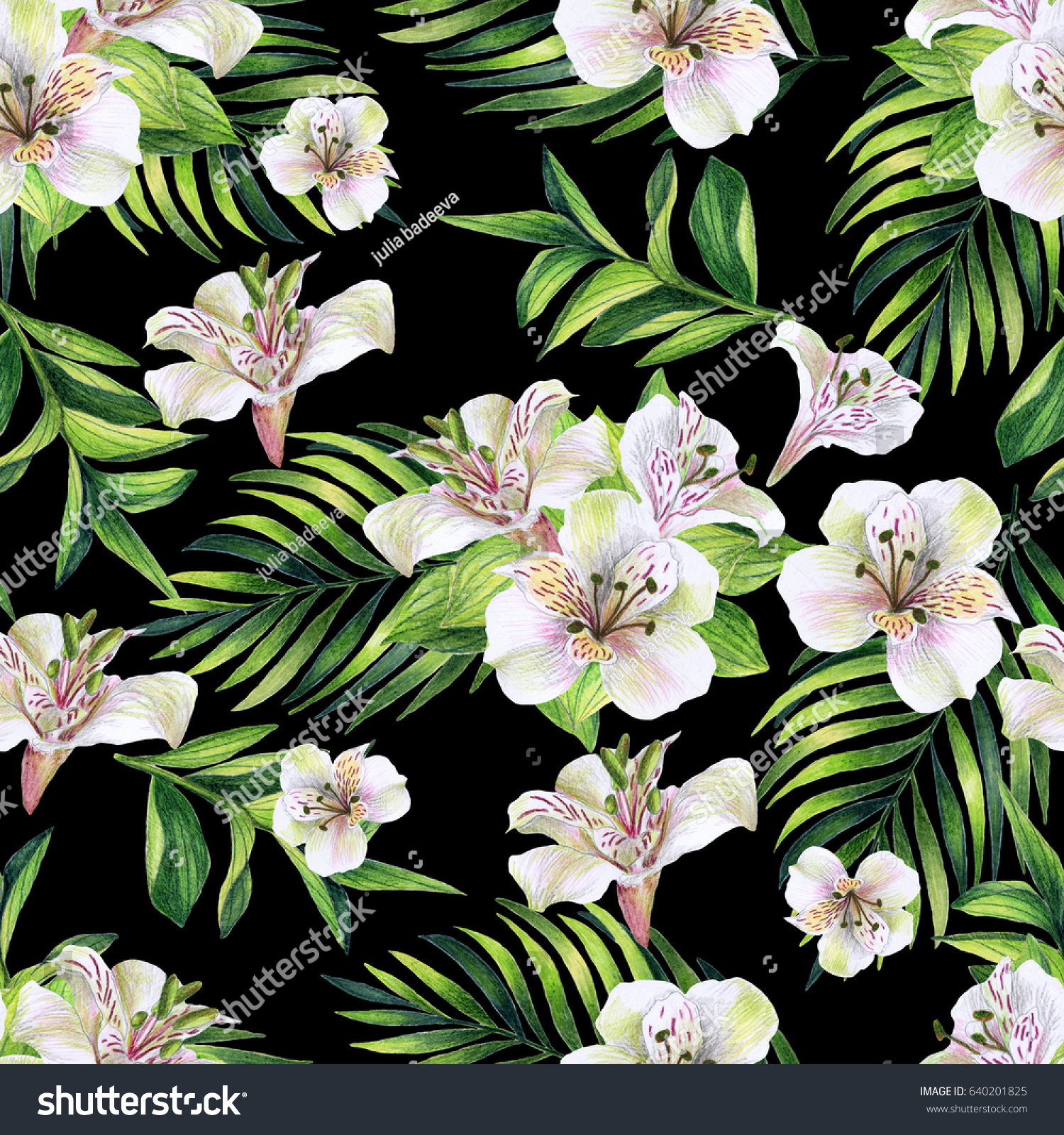 Watercolor Vector Tropical Pattern Pink Flowers And White Parrot