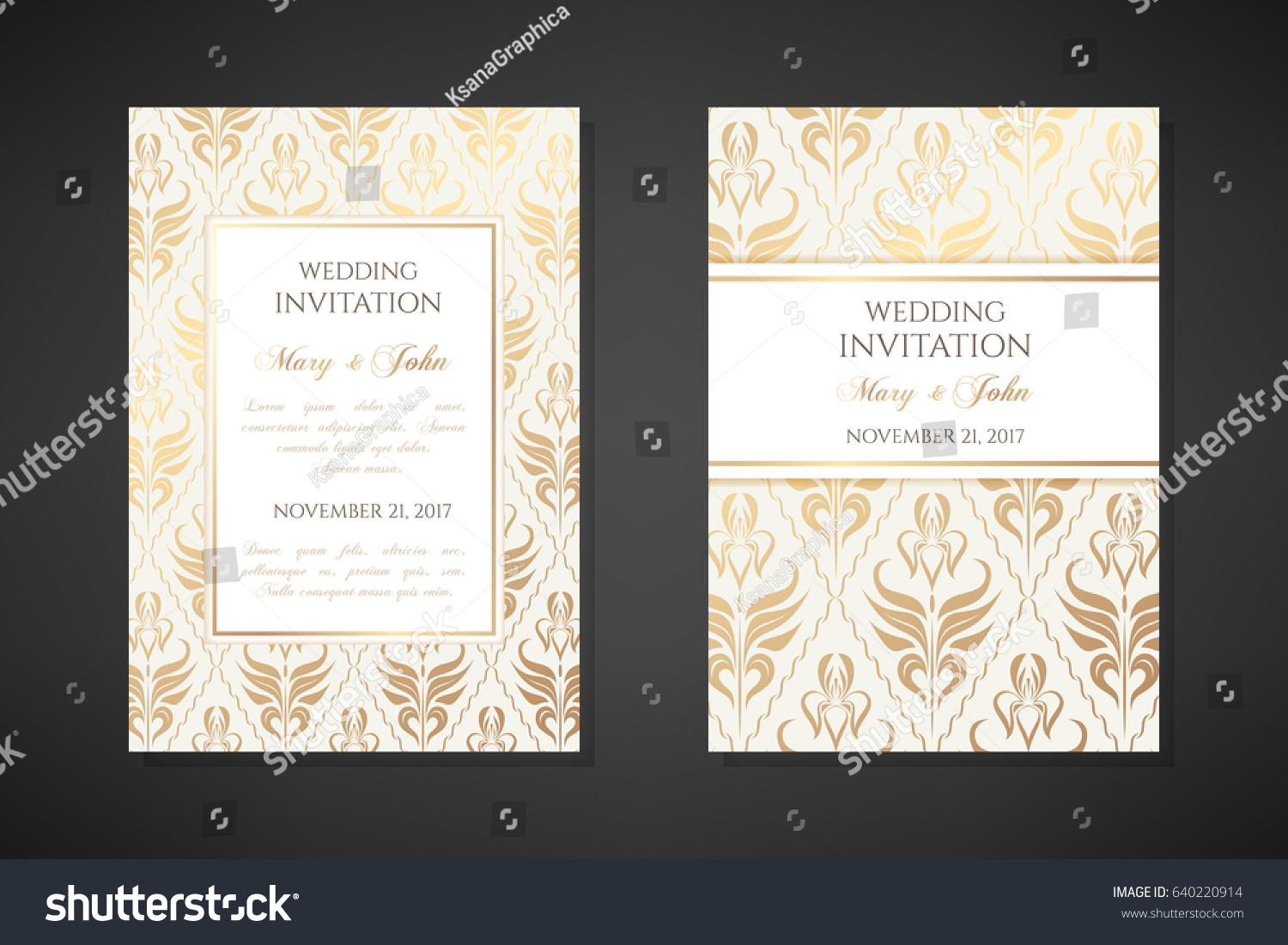 vintage wedding invitation templates cover design stock vector