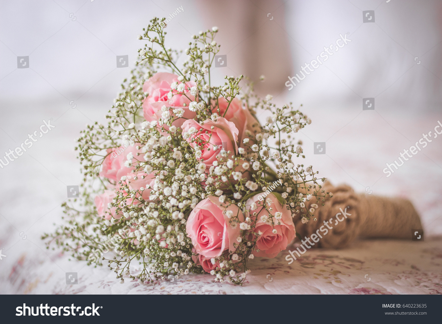 Wedding Bouquet Light Pink Roses White Stock Photo Edit Now
