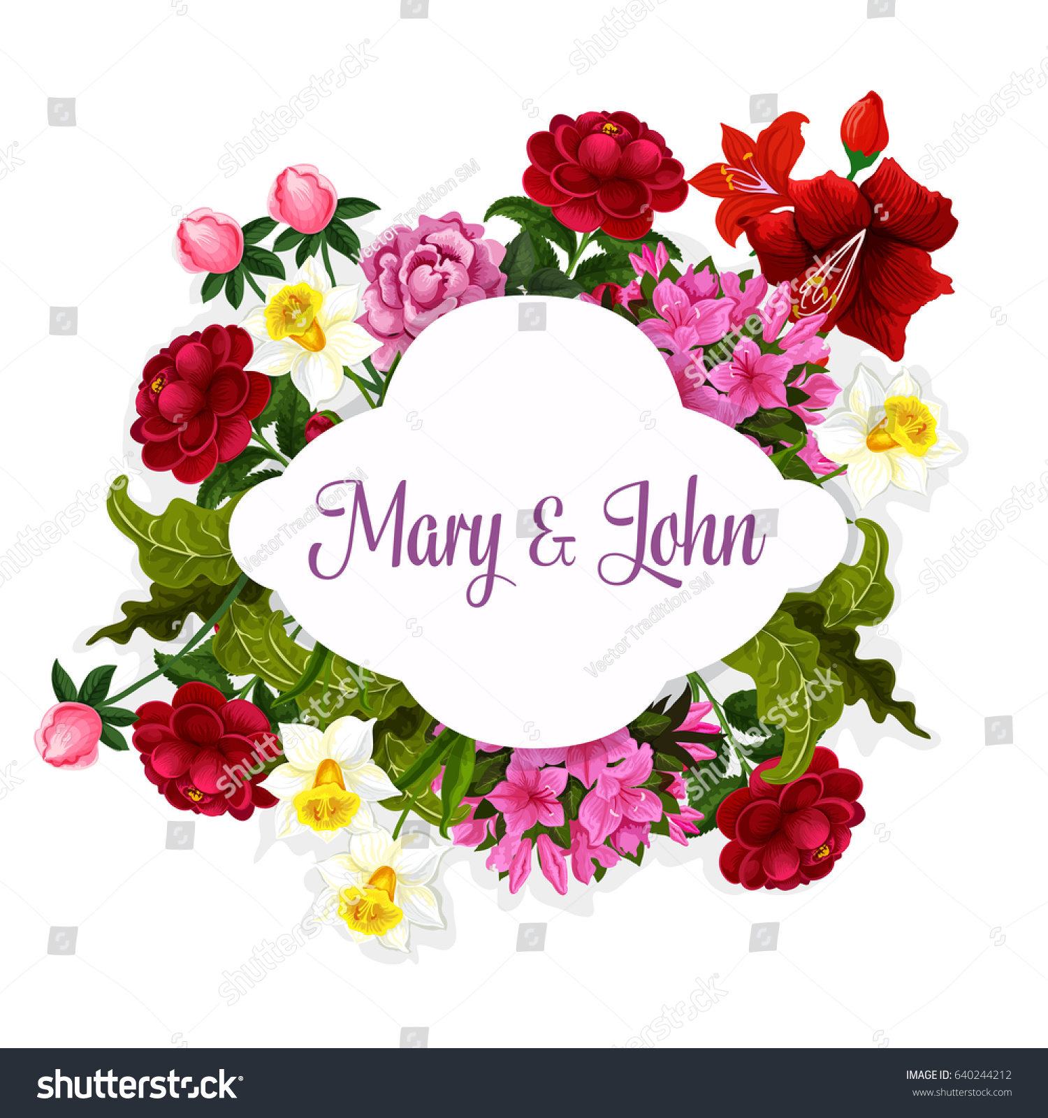 Wedding Flowers Bride Groom Names Template Stock Vector Royalty