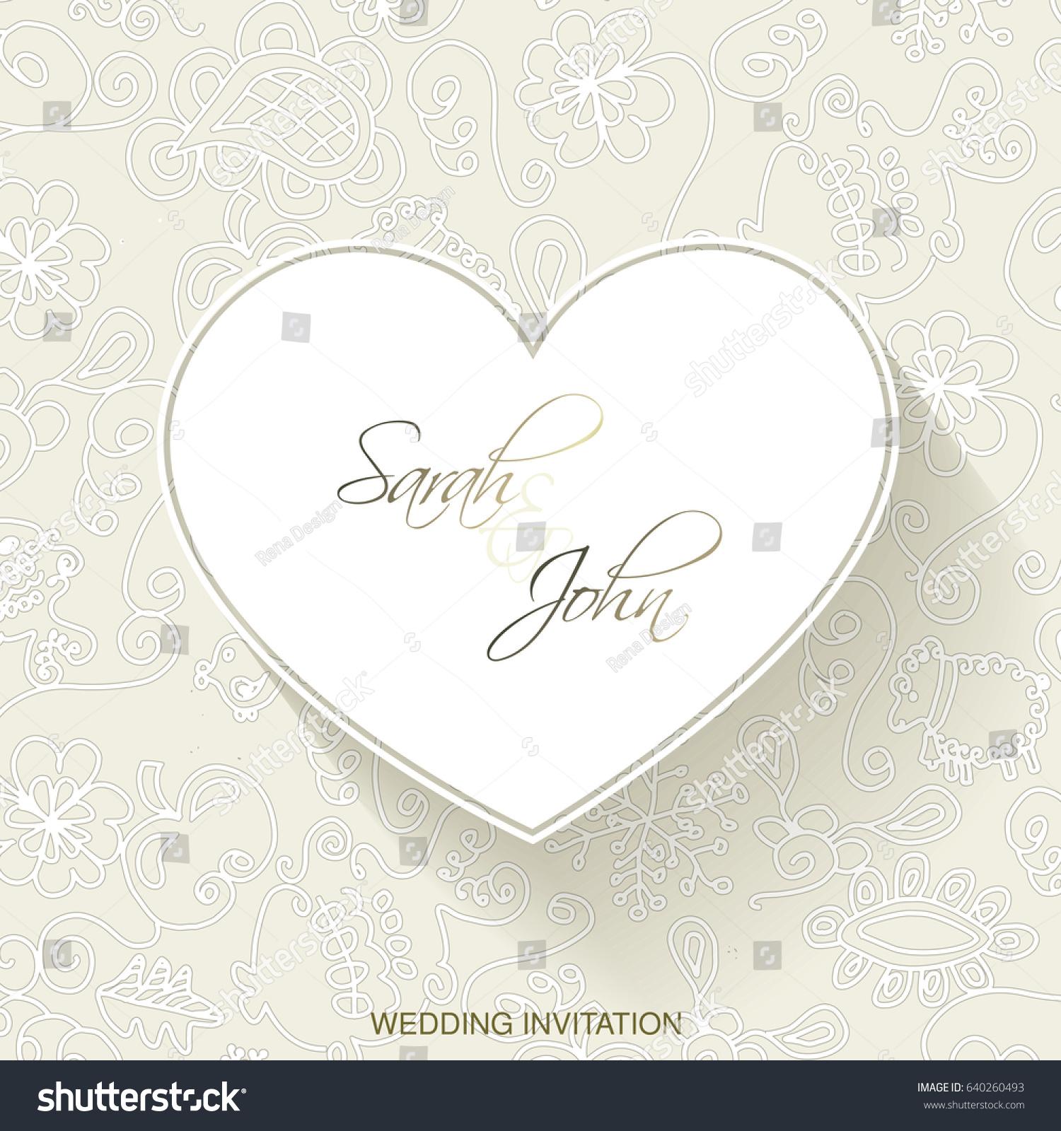 Vector Wedding Invitation Heart Vintage Frame Stock Vector ...