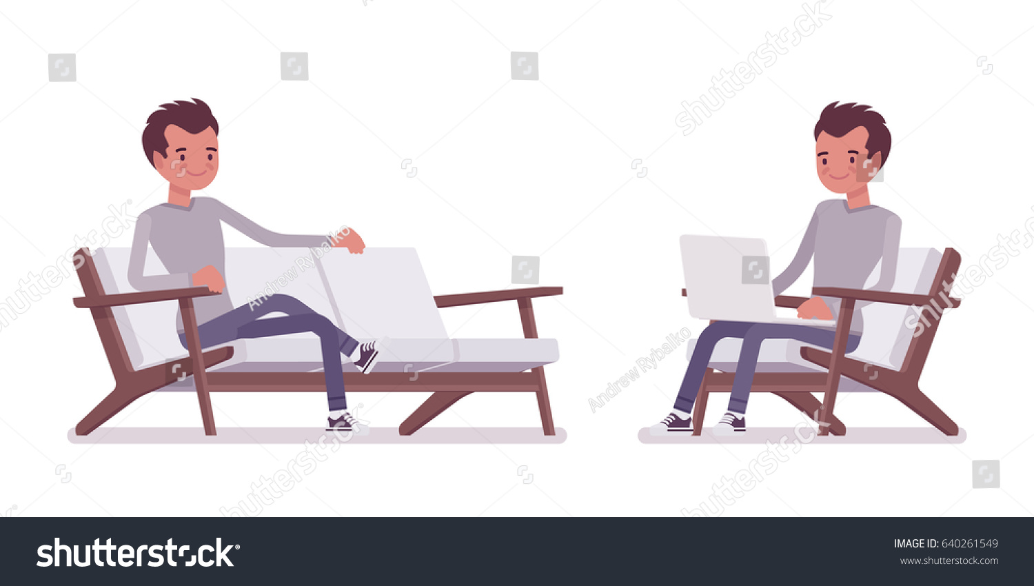 Set young handsome man smart casual stock vector 640261549 for Sitting in armchair
