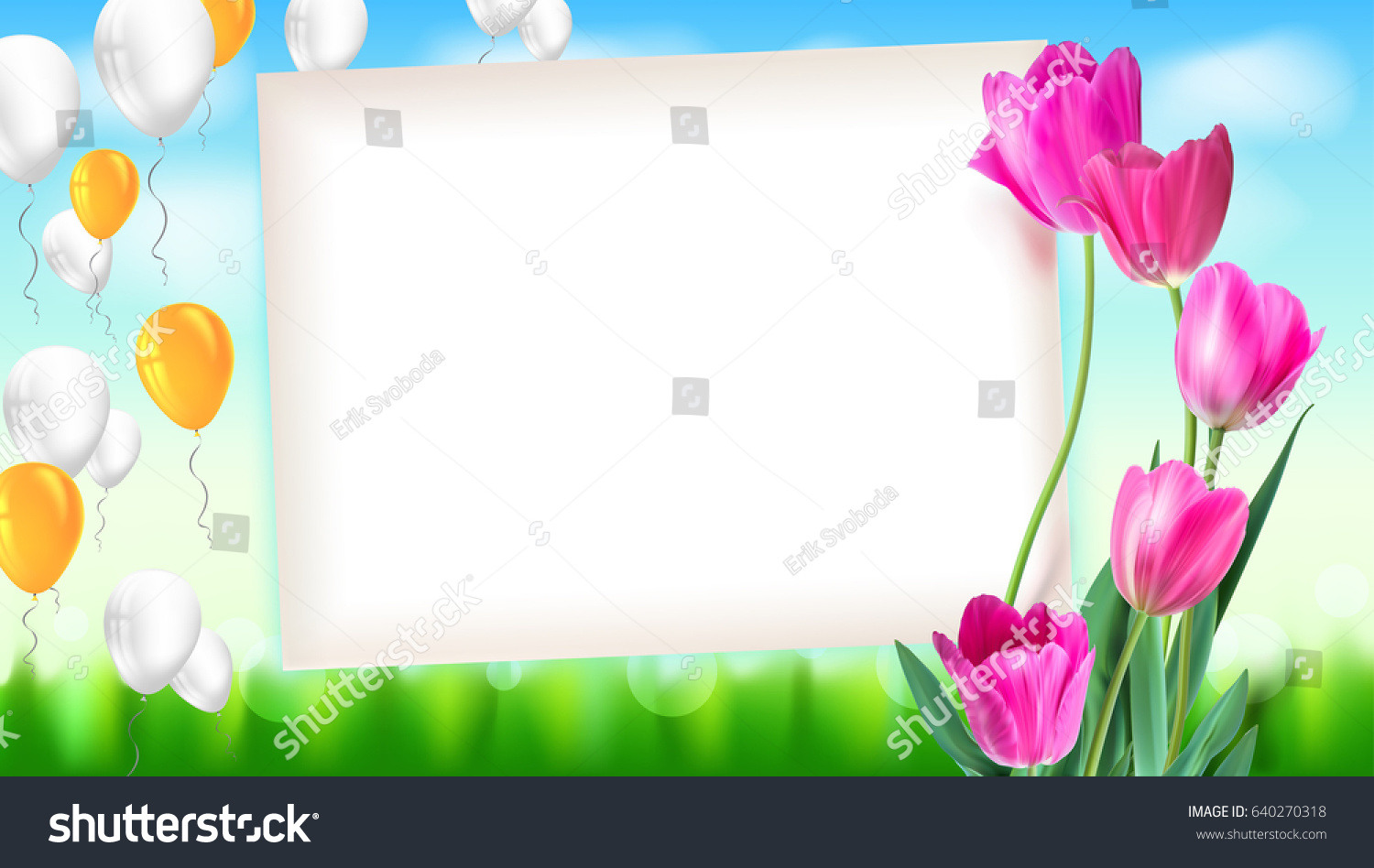 greeting card tulips around sheet paper stock vector royalty free
