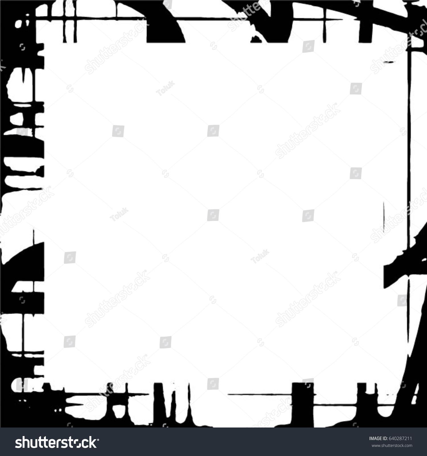 grunge black white square distressed frame のベクター画像素材