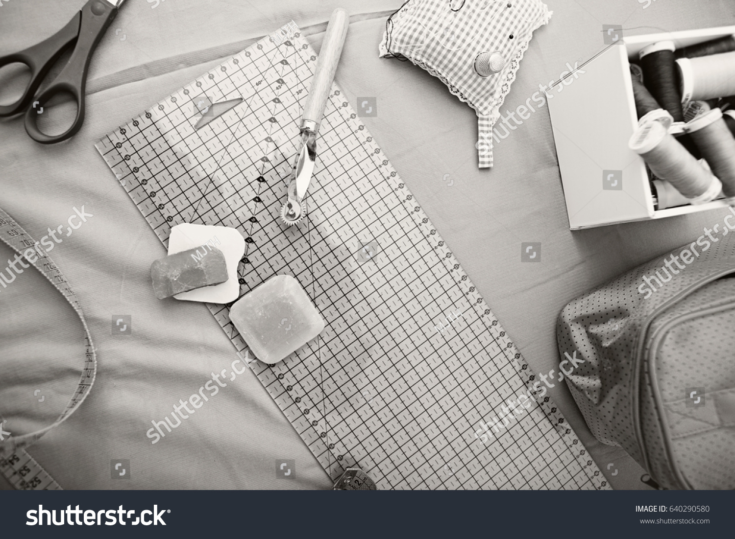 Black White Still Life Home Sewing Stock Photo (Royalty Free ...
