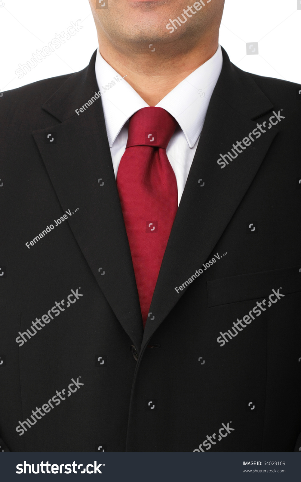 Close Businessman Wearing Black Suit White Stock Photo 64029109