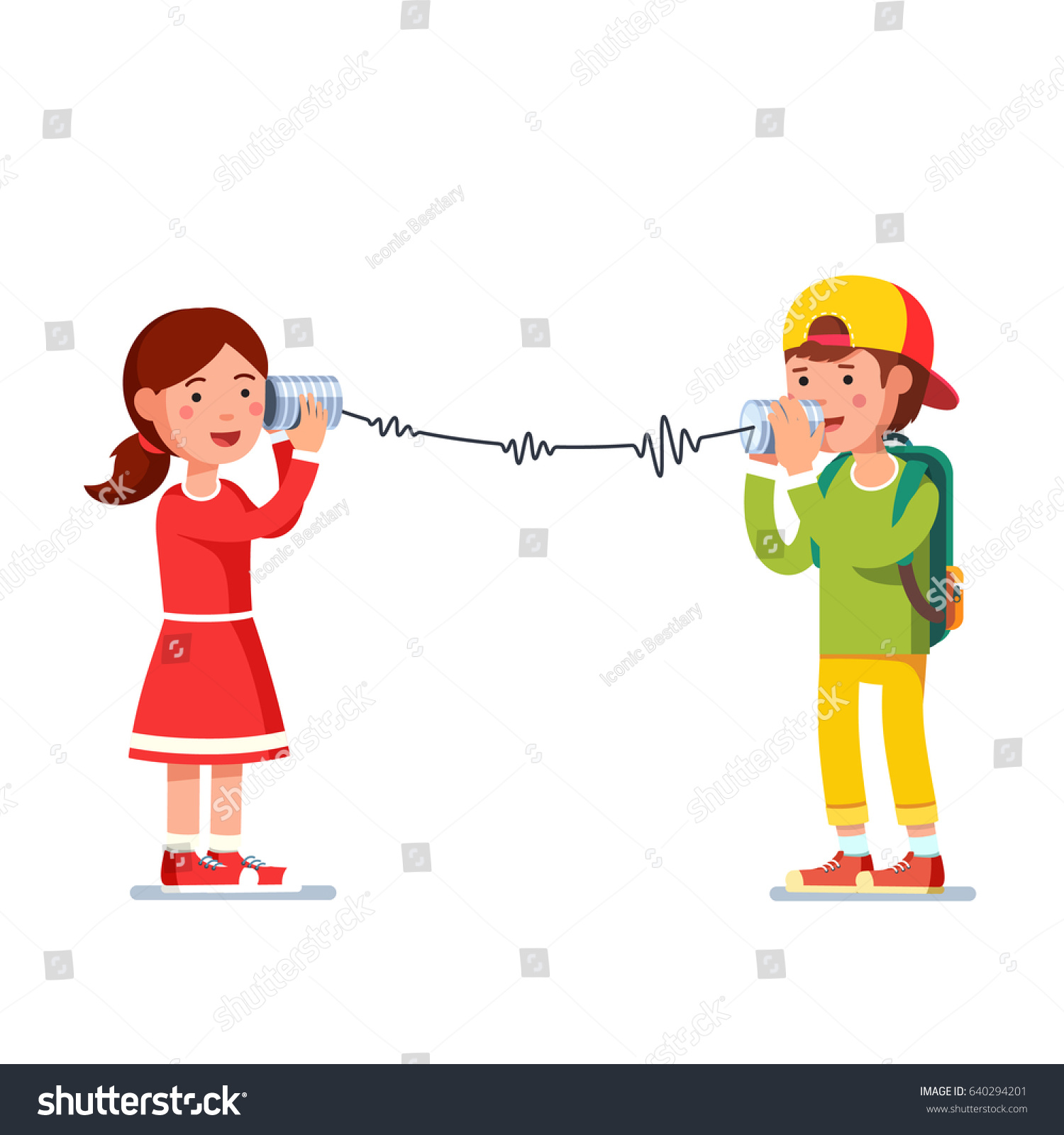 Kids girl boy experimenting talking on stock vector 640294201 kids girl and boy experimenting talking on a wired tin cans phone transforming sound waves to sciox Gallery