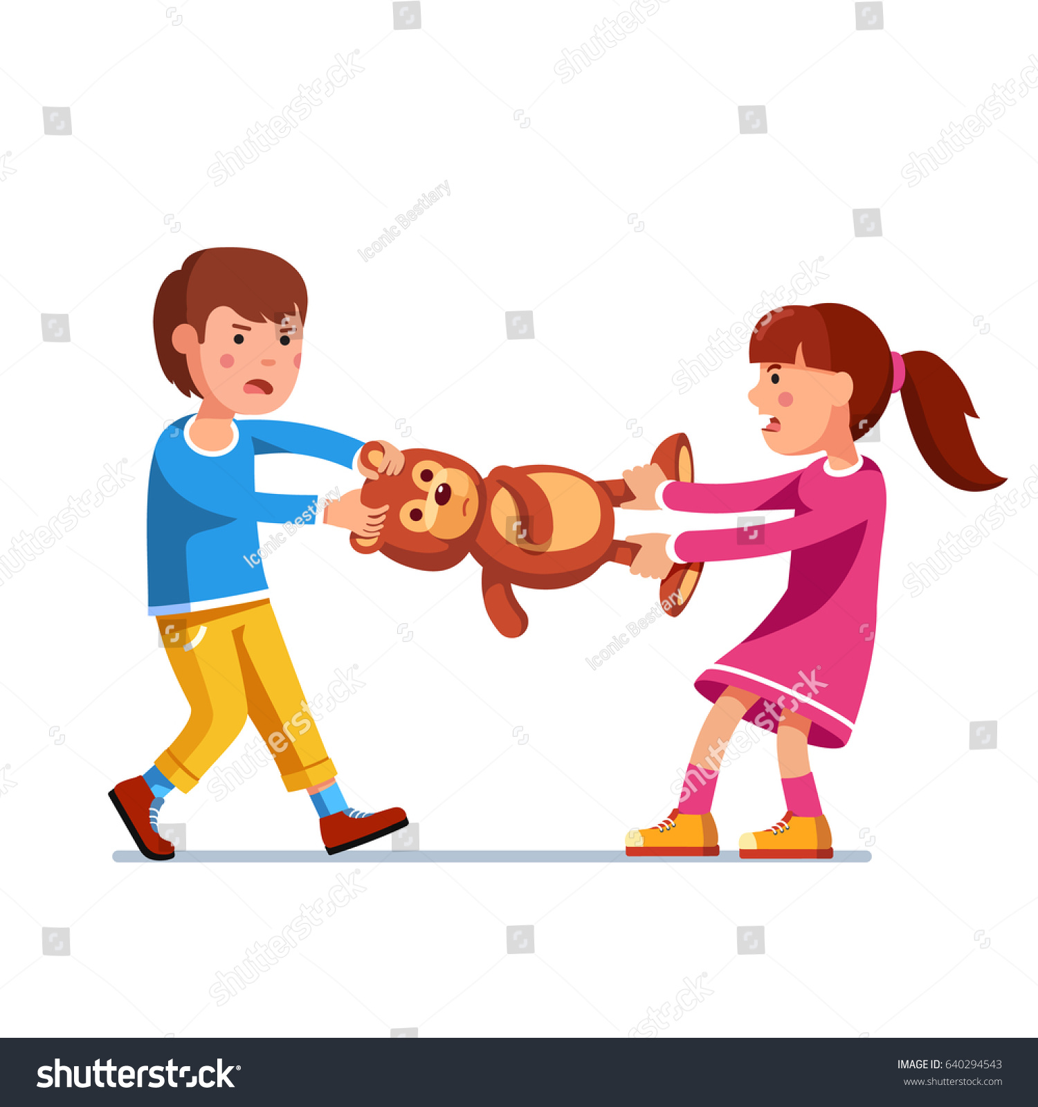 Toys For Siblings : Kids girl boy brother sister fighting stock vector