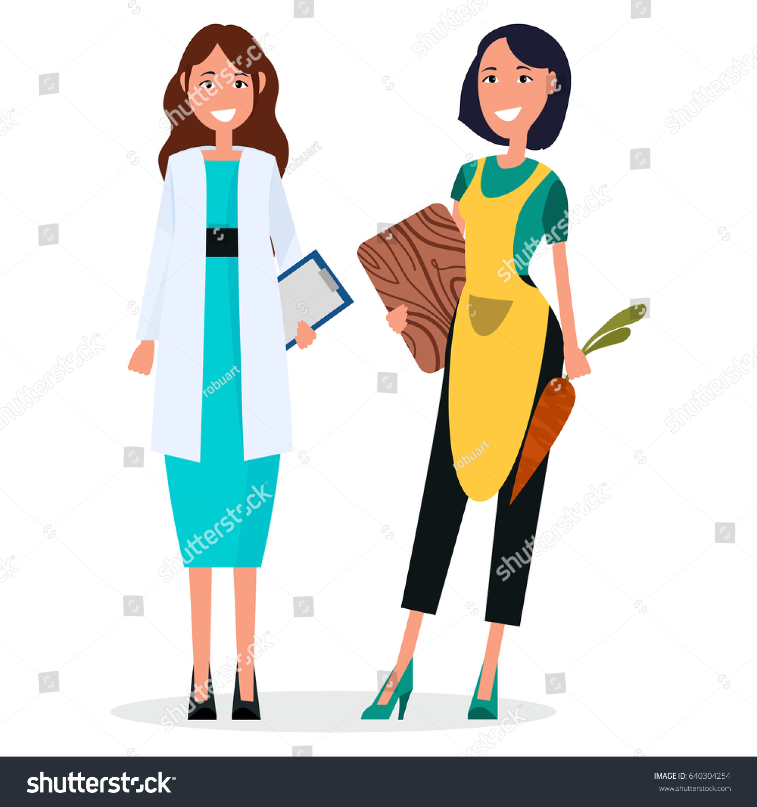 f5566cdb16529 Woman doctor with stethoscope and housewife with cut board and carrot  isolated vector. Therapist in white uniform