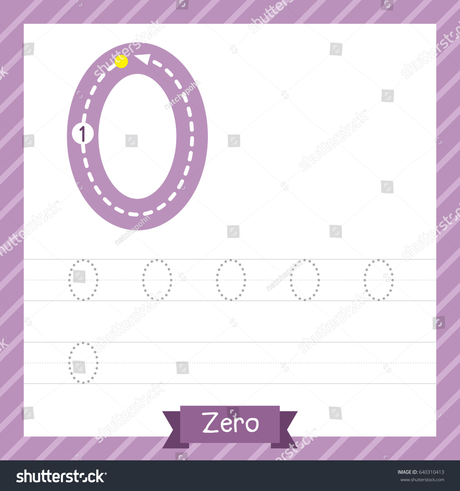 number zero tracing practice worksheet kids stock vector 640310413