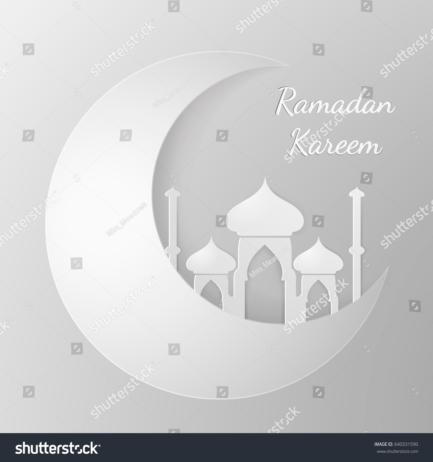 Vector ramadan template design greeting card stock vector 640331590 vector ramadan template design greeting card in 3d style cutting paper moon and mosque kristyandbryce Image collections